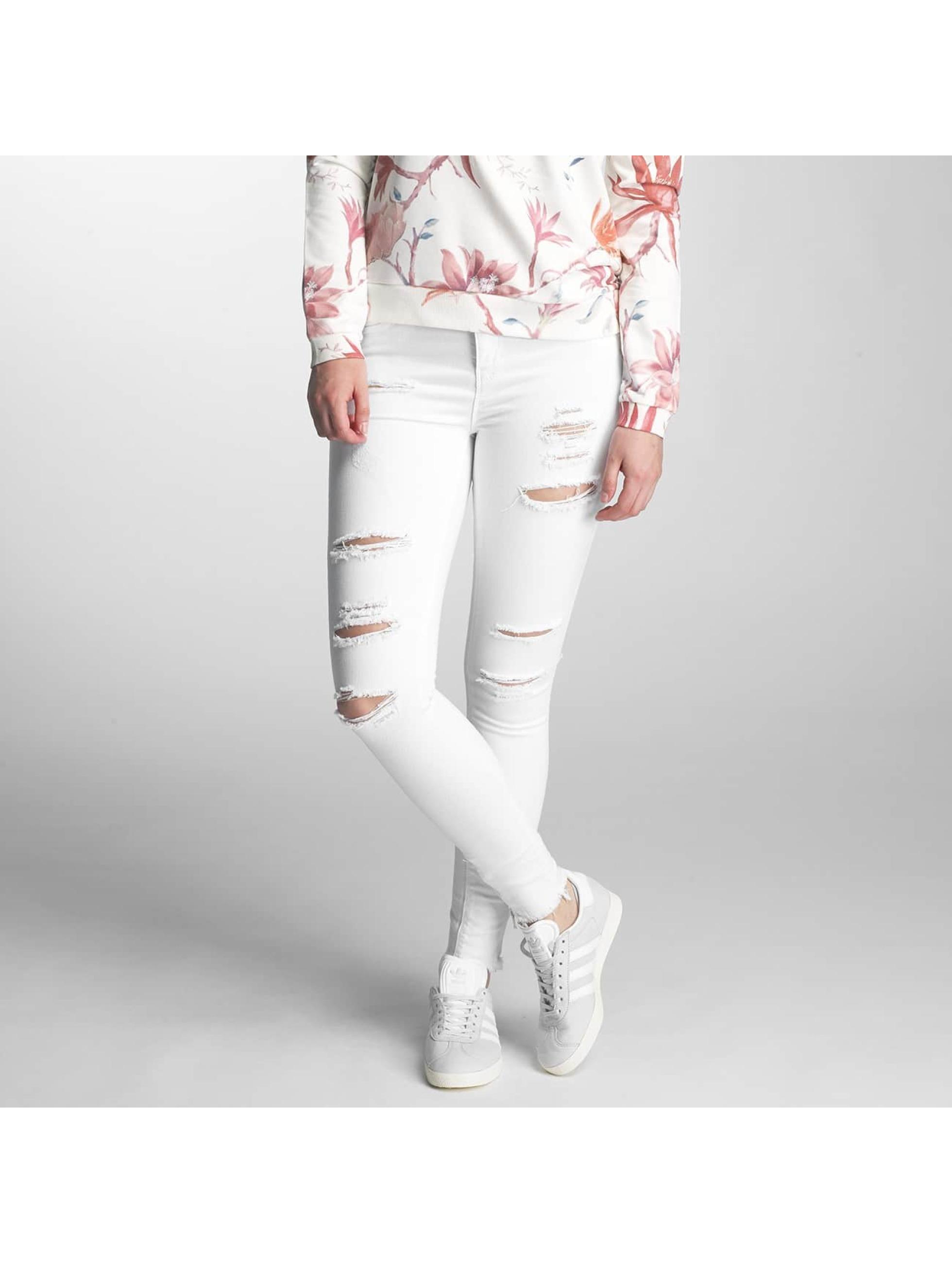 Only Frauen Skinny Jeans onlKendell Ank Zip Destroy in weiß