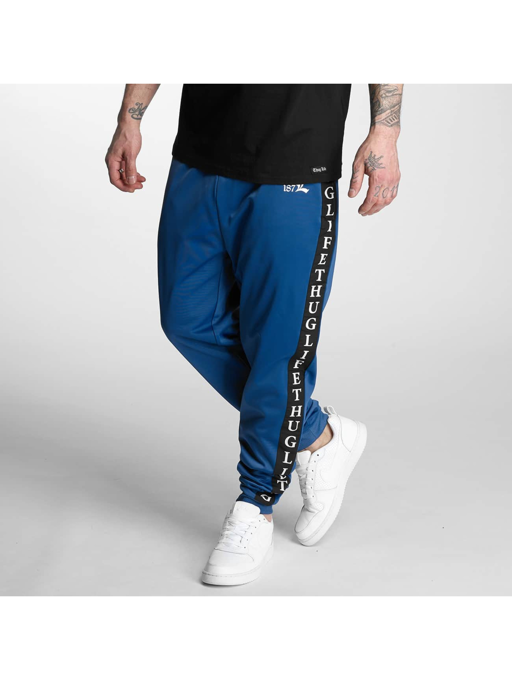 Thug Life Männer Jogginghose Two Stripes in blau