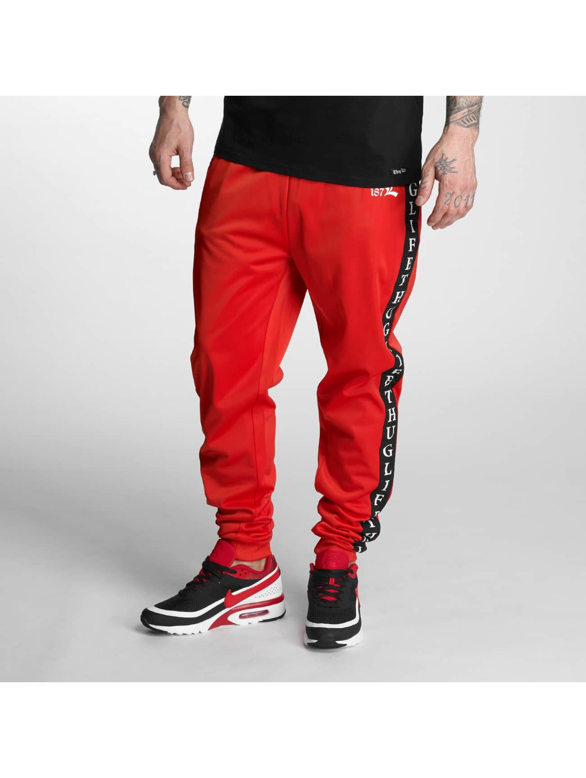 Thug Life Männer Jogginghose Two Stripes in rot