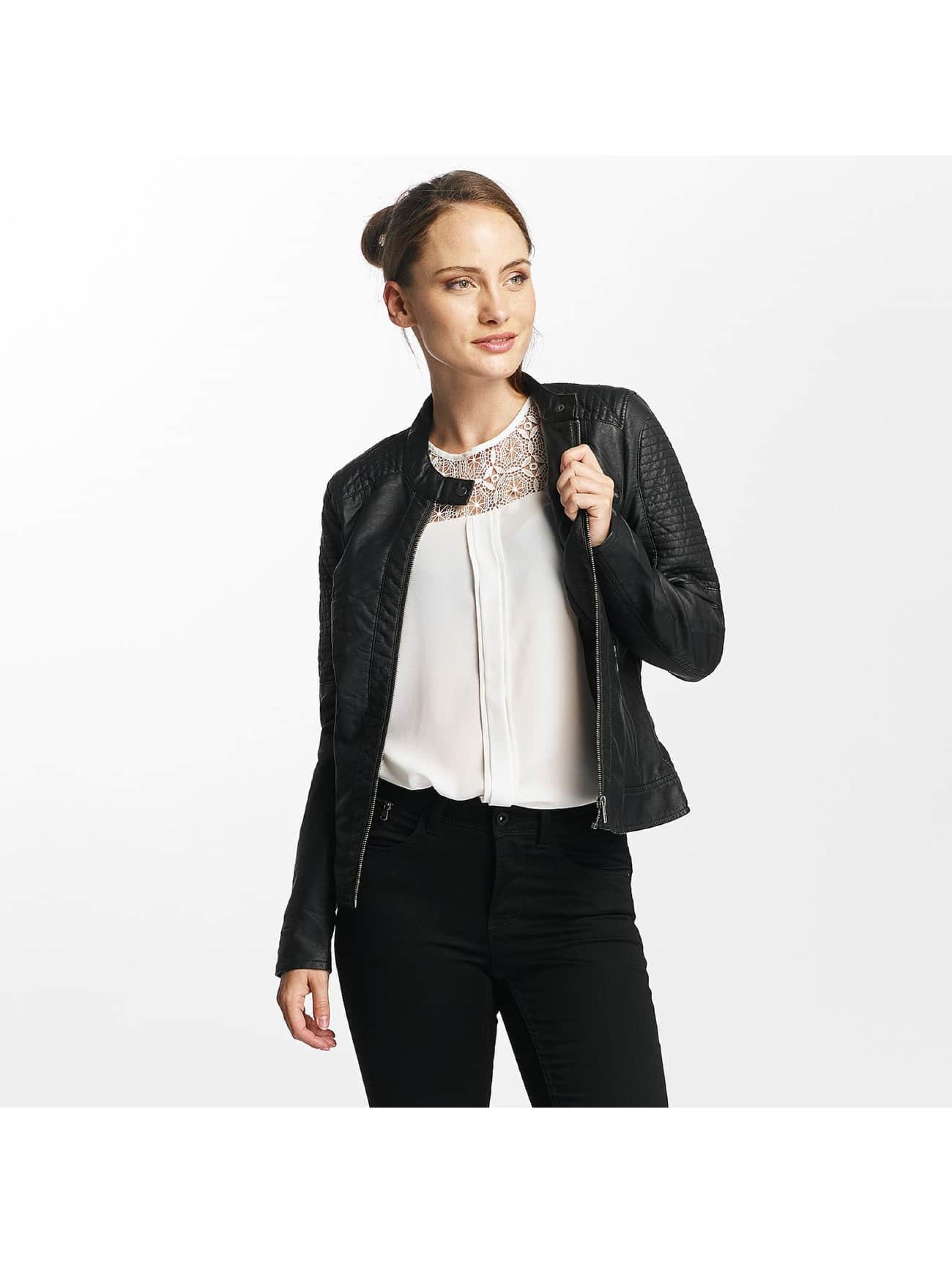 Only Frauen Lederjacke onlReady Faux Leather in schwarz