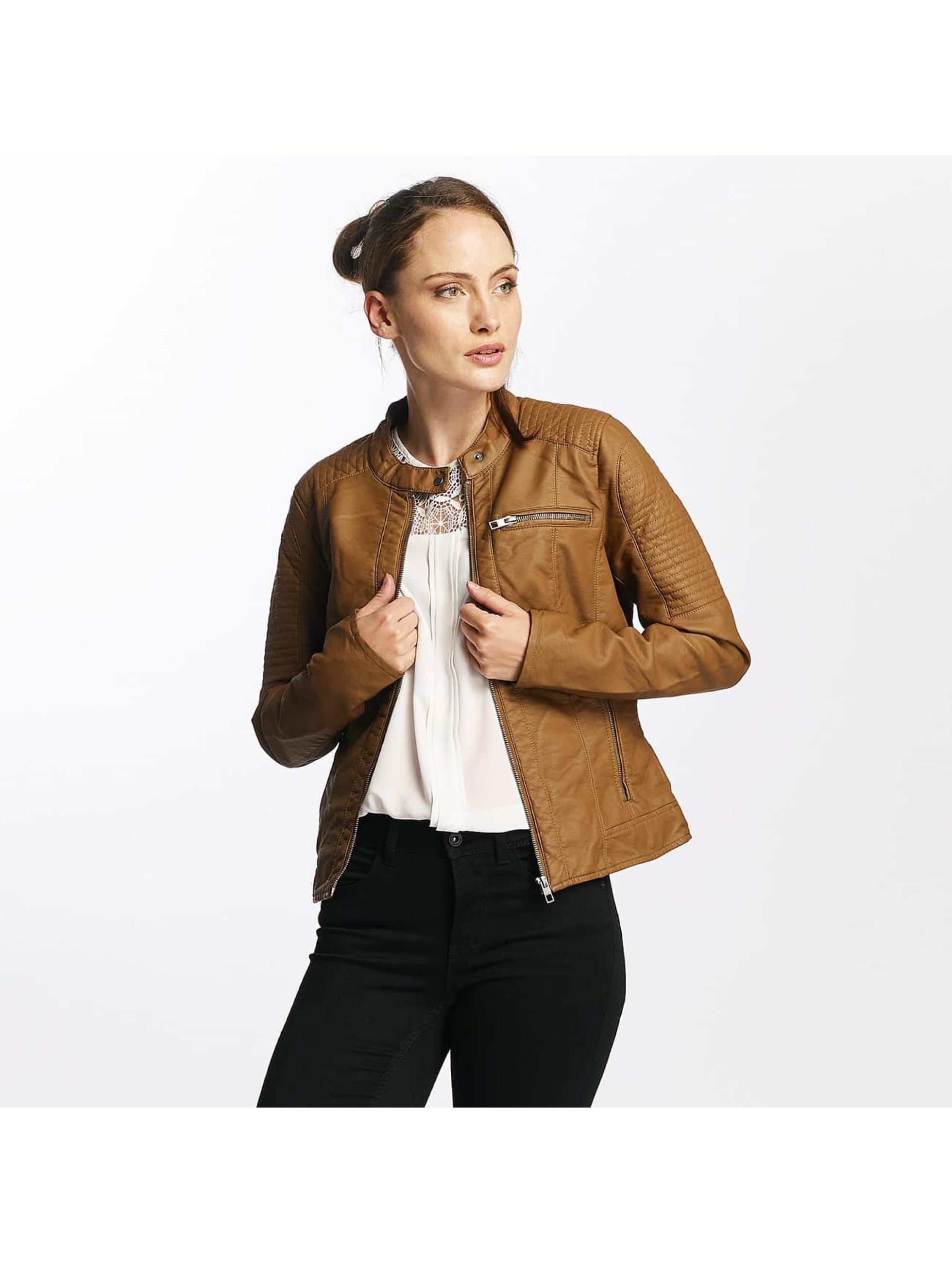 Only Frauen Lederjacke onlReady Faux Leather in braun