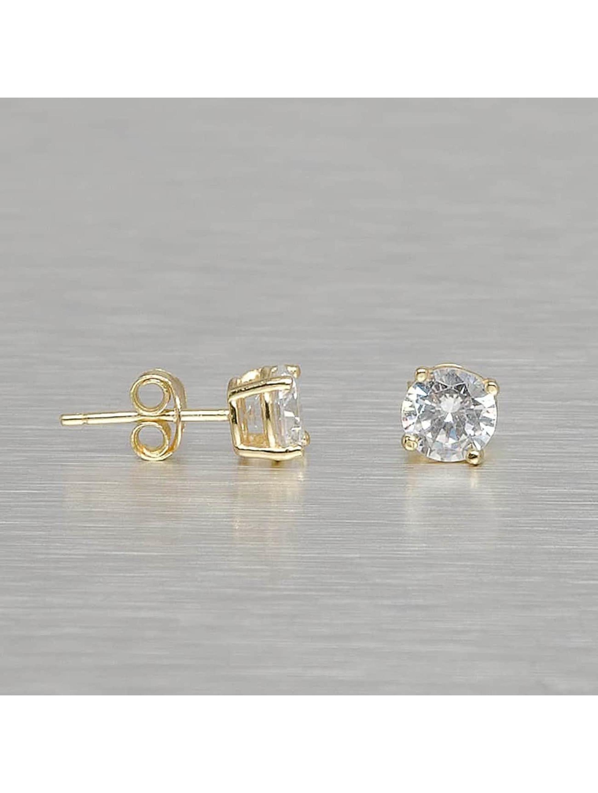 KING ICE Männer,Frauen Ohrringe Gold_Plated 6mm 925 Sterling_Silver Round Cut in goldfarben