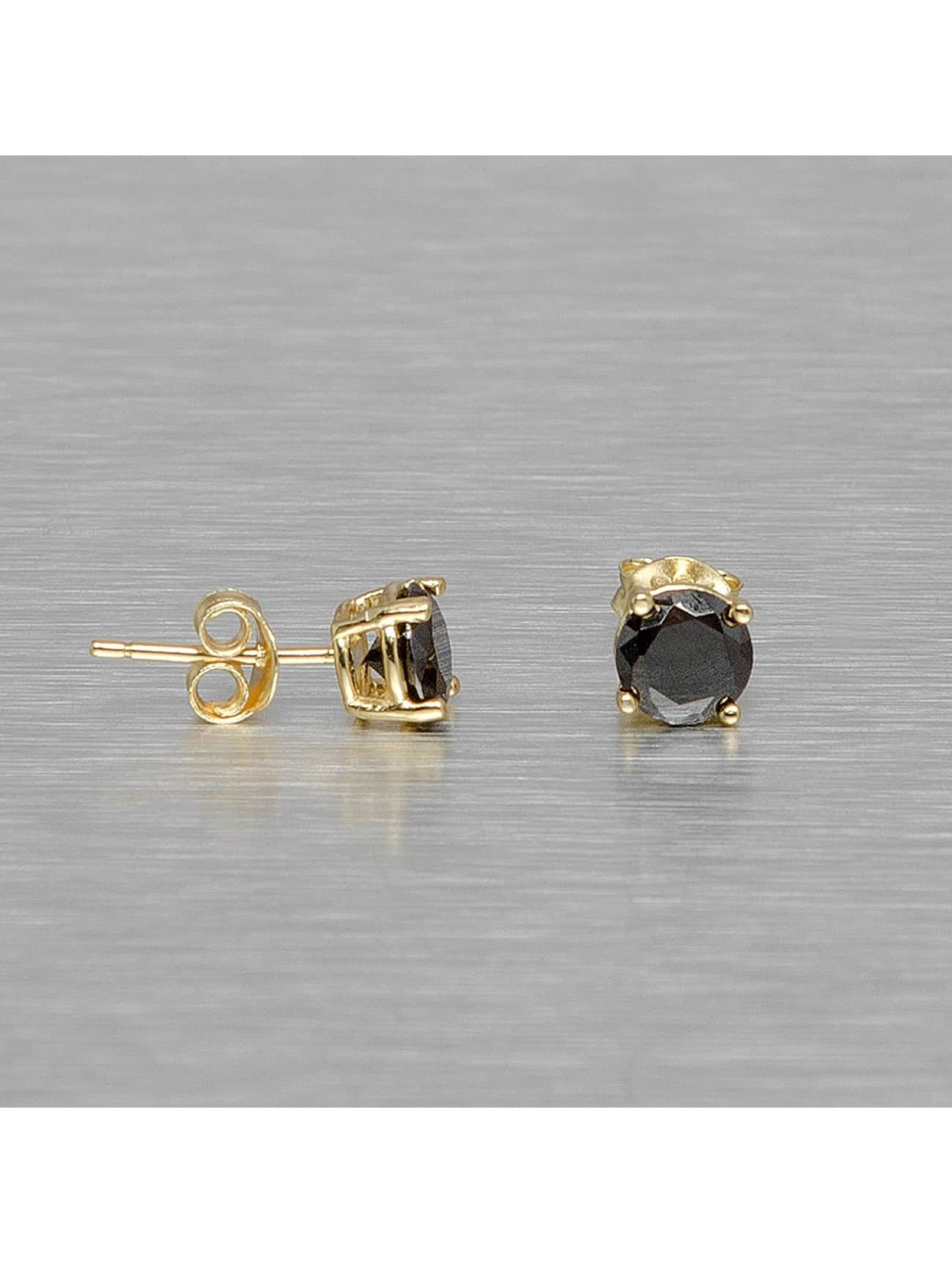 KING ICE Männer,Frauen Ohrringe Gold_Plated 6mm 925 Sterling_Silver CZ Black in goldfarben