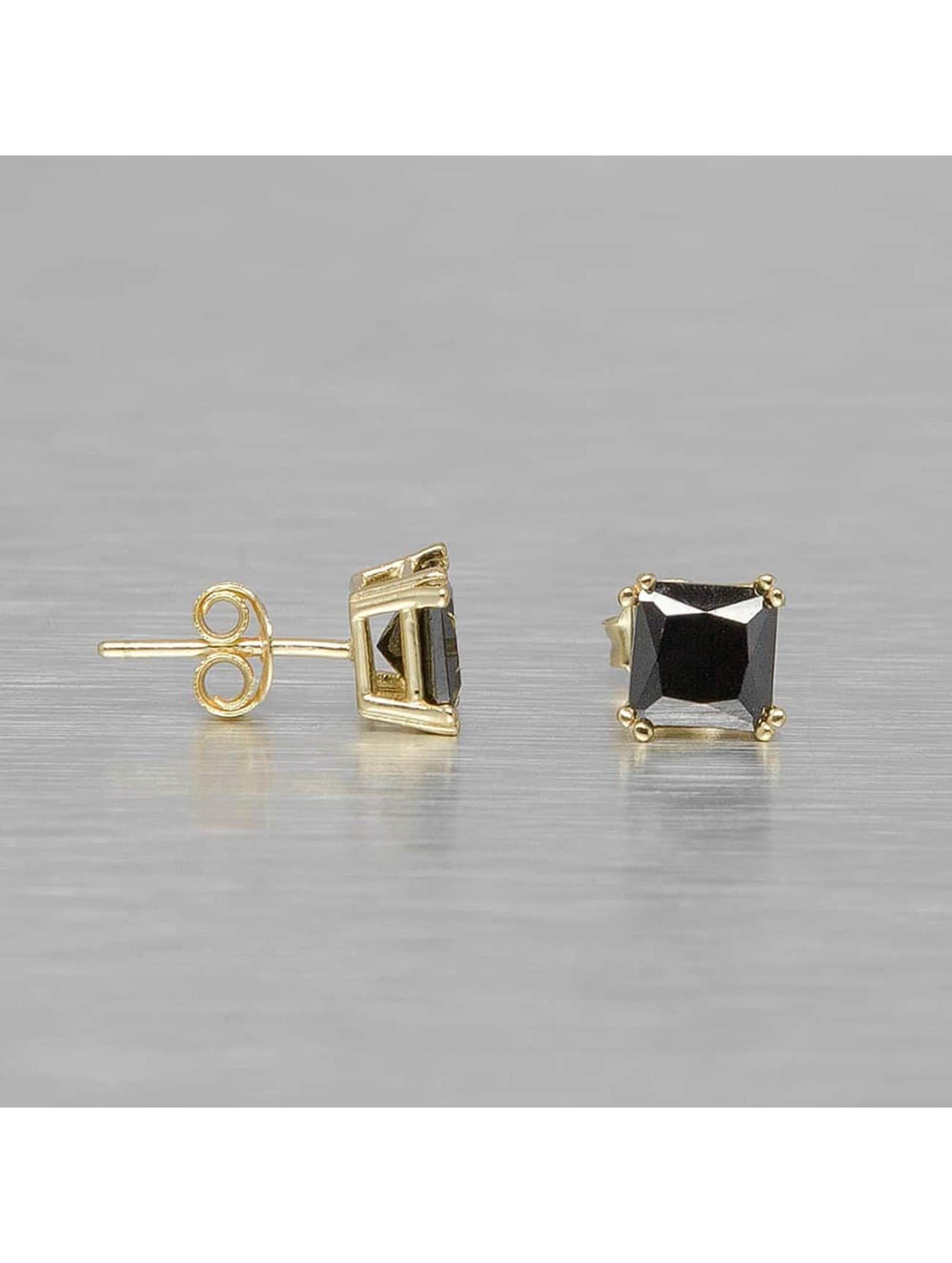 KING ICE Männer,Frauen Ohrringe Gold_Plated 6mm 925 Sterling_Silver CZ Black Princess Cut in goldfarben
