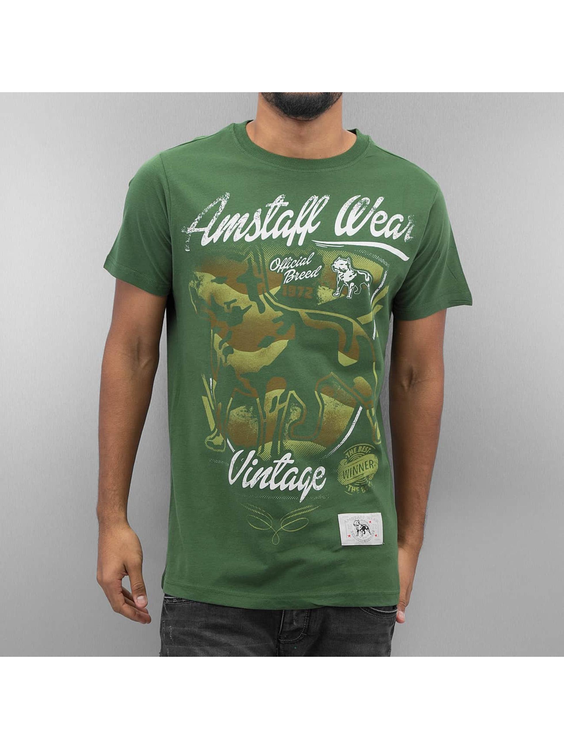 Amstaff Männer T-Shirt Perro in grün Sale Angebote Kathlow