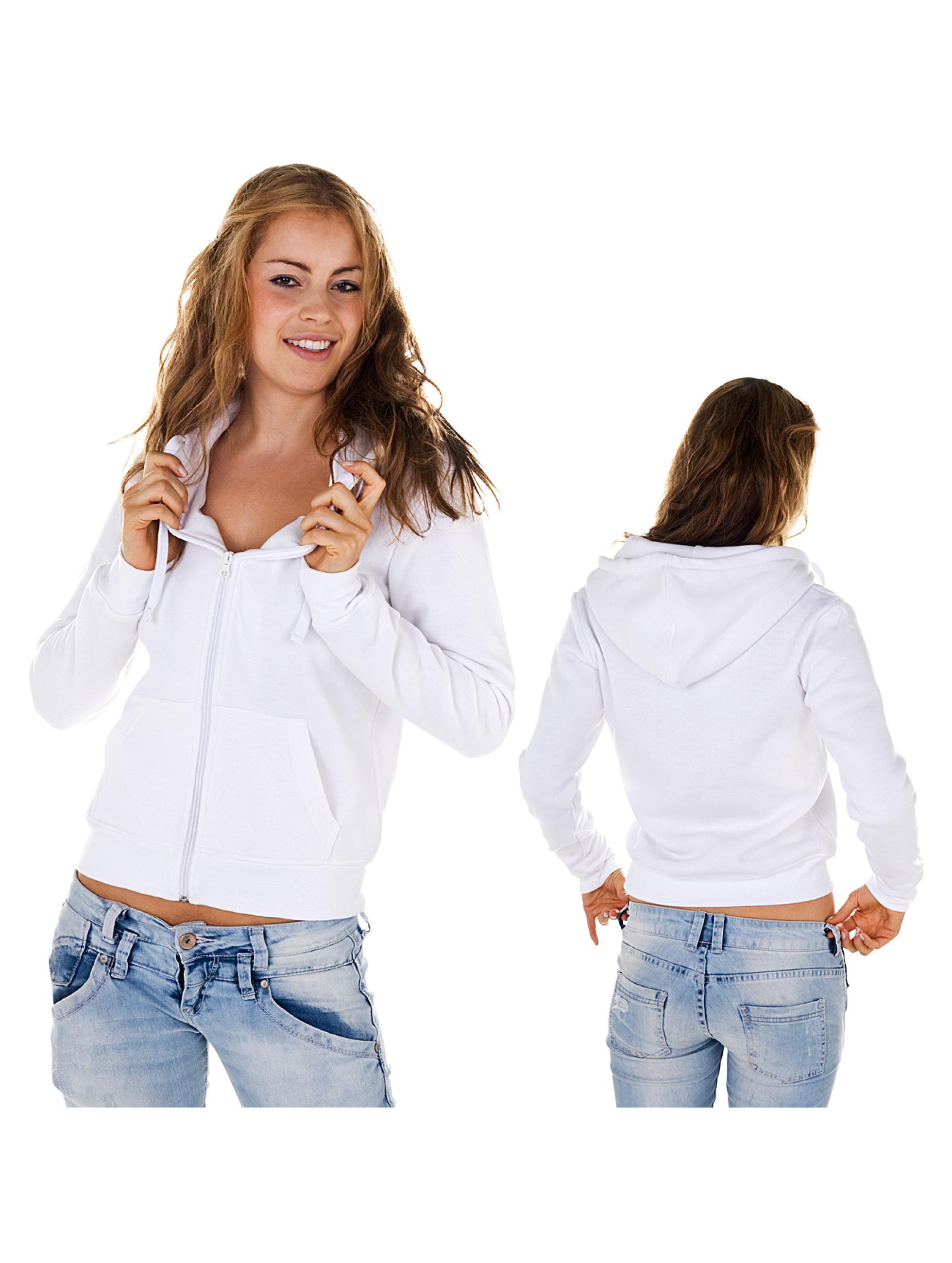 Urban Classics Ladies Zip Hoody White