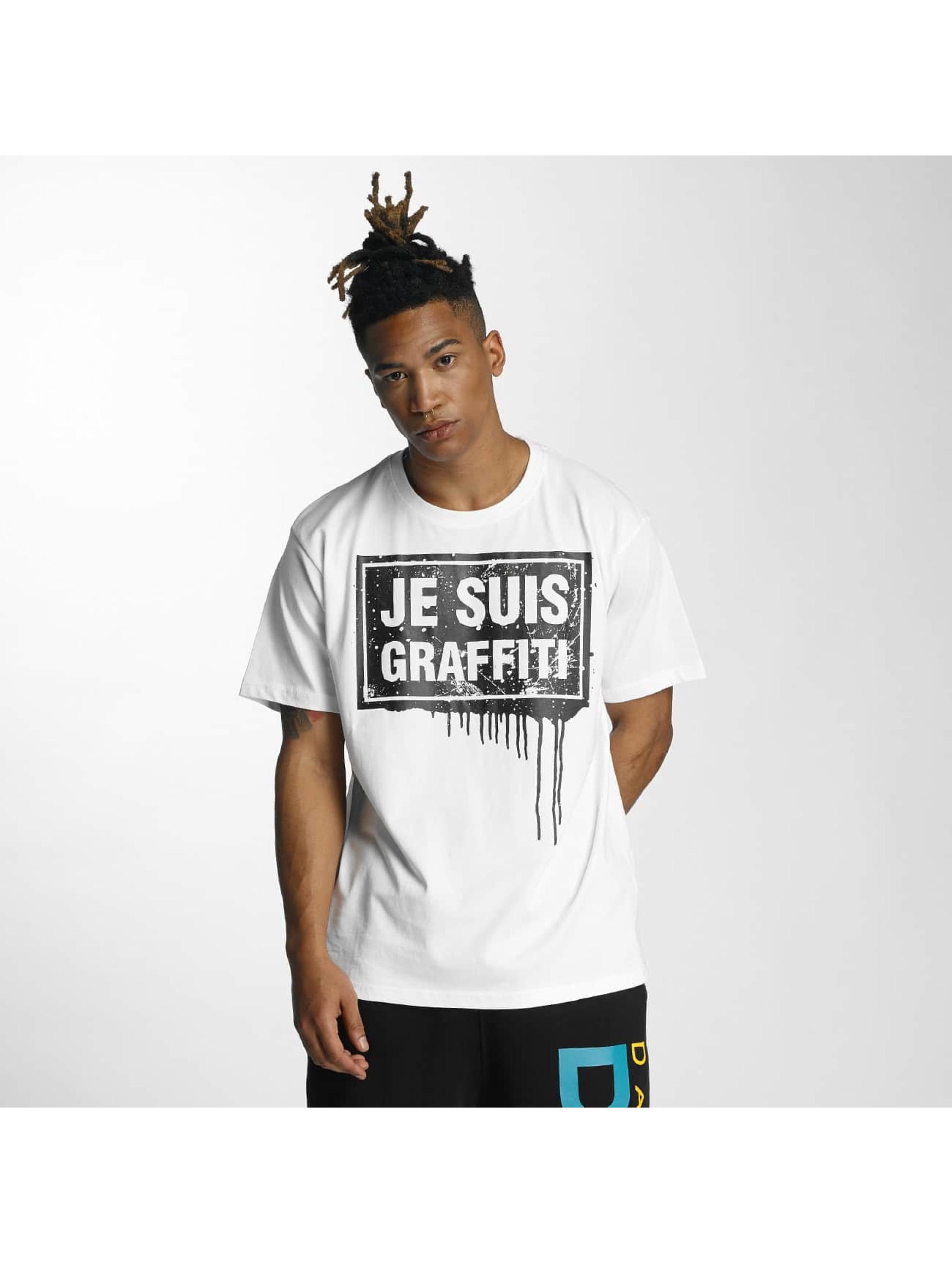 Dangerous DNGRS Männer T-Shirt Je Suis Graffiti in weiß