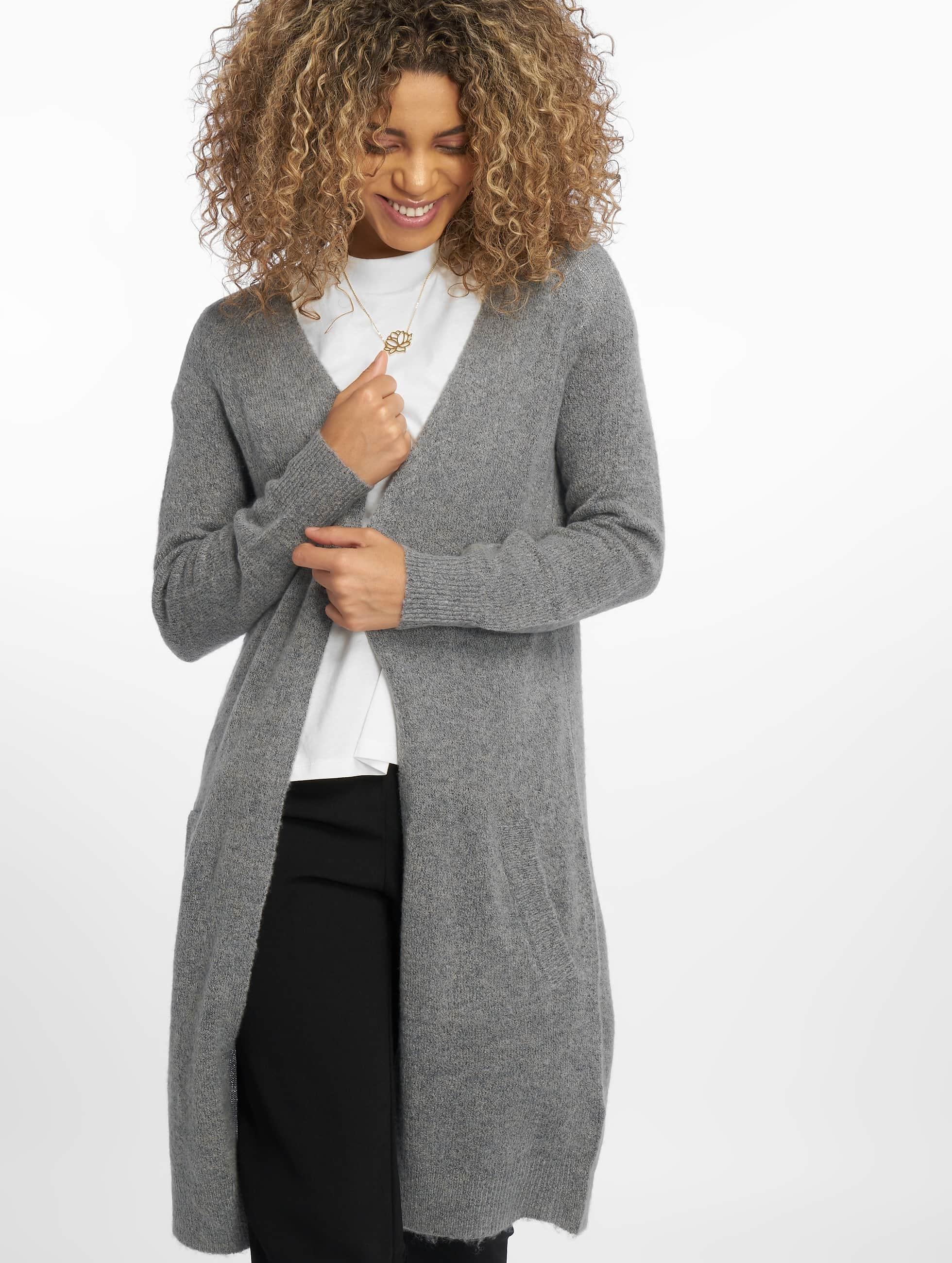 Pieces Frauen Strickjacke pcJane Long Wool in grau
