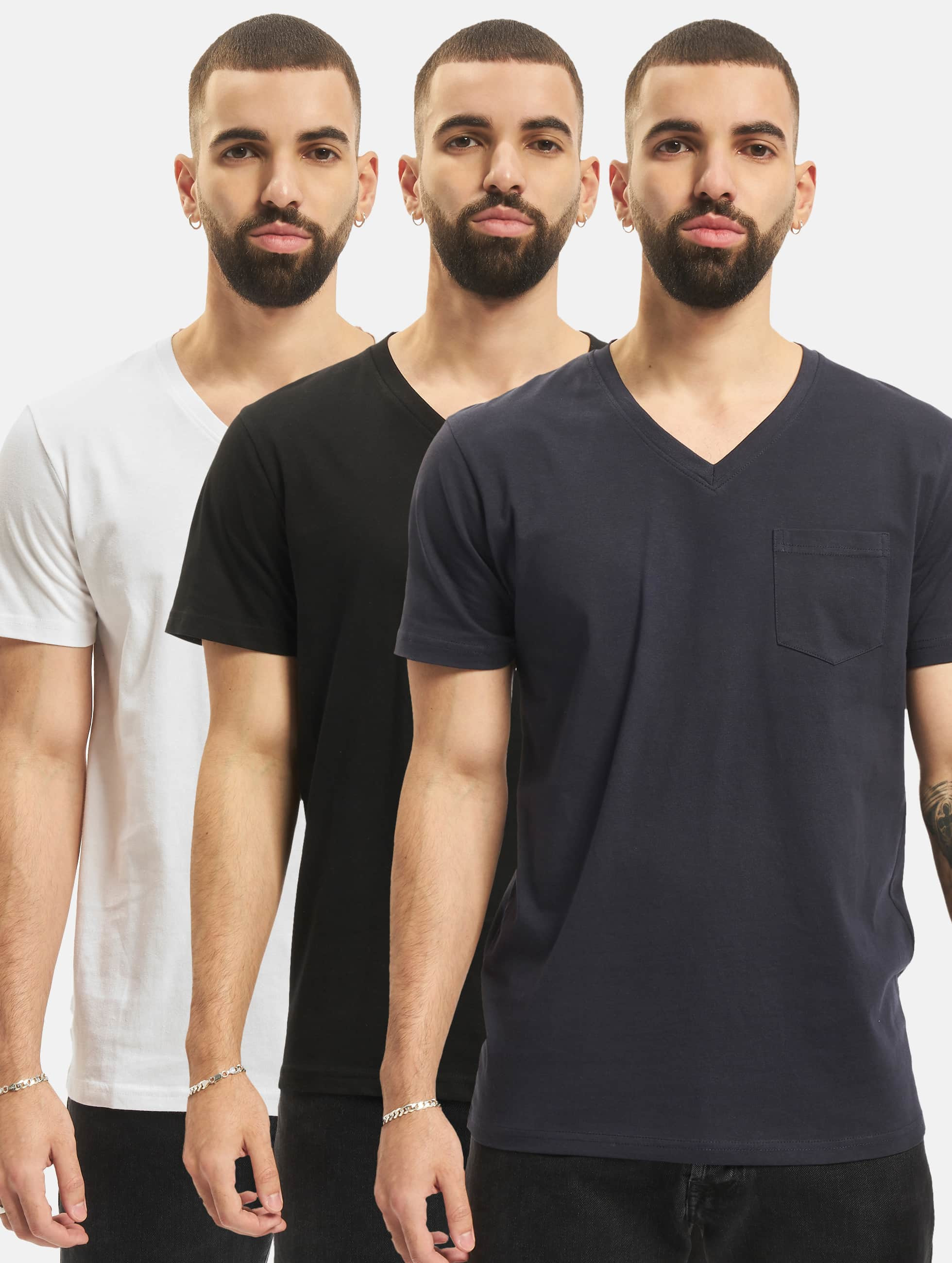 DEF / T-Shirt 3 Pack in black 4XL