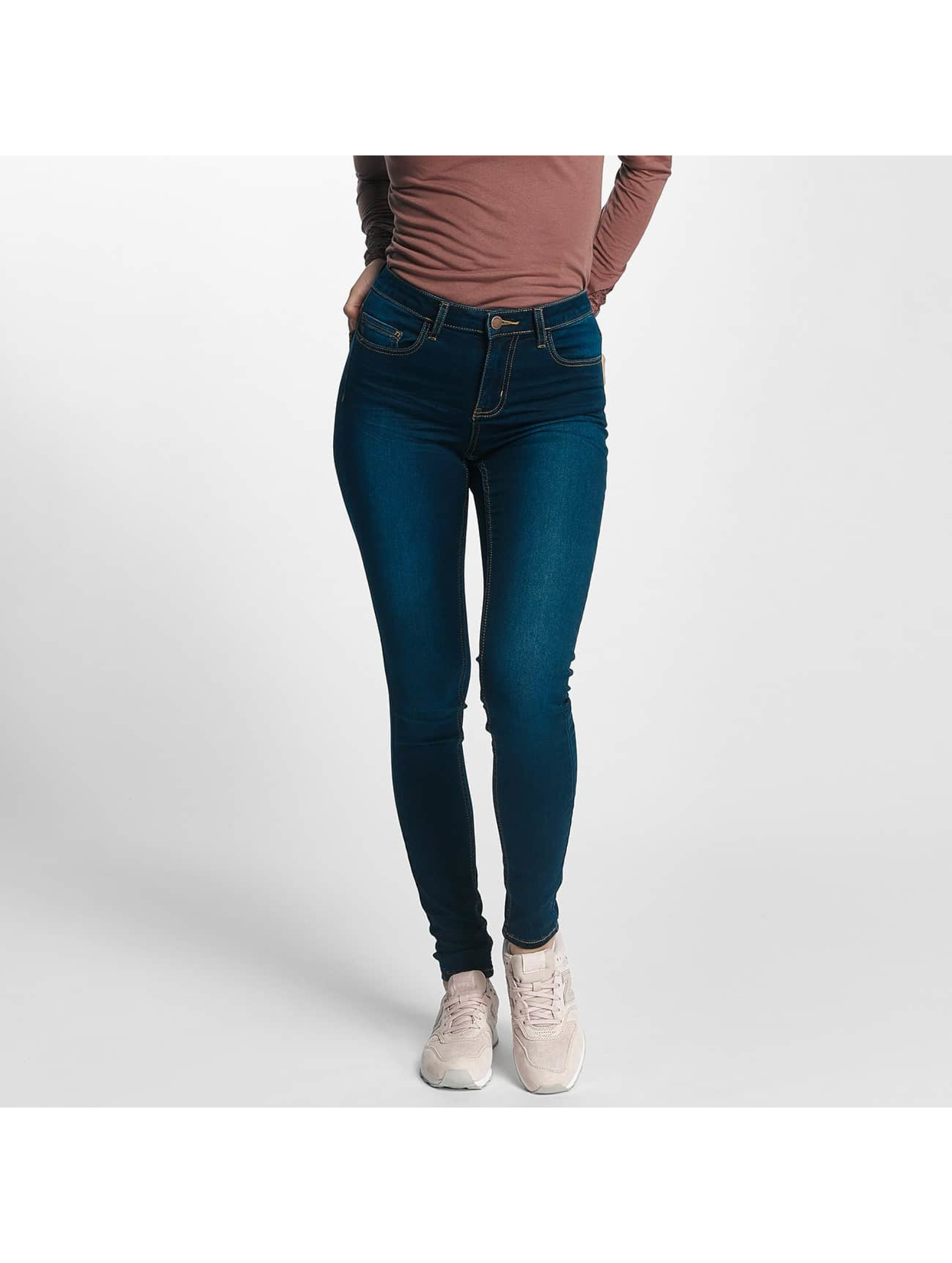Pieces Frauen Skinny Jeans pcFive Bettysoft Mid Waist in blau