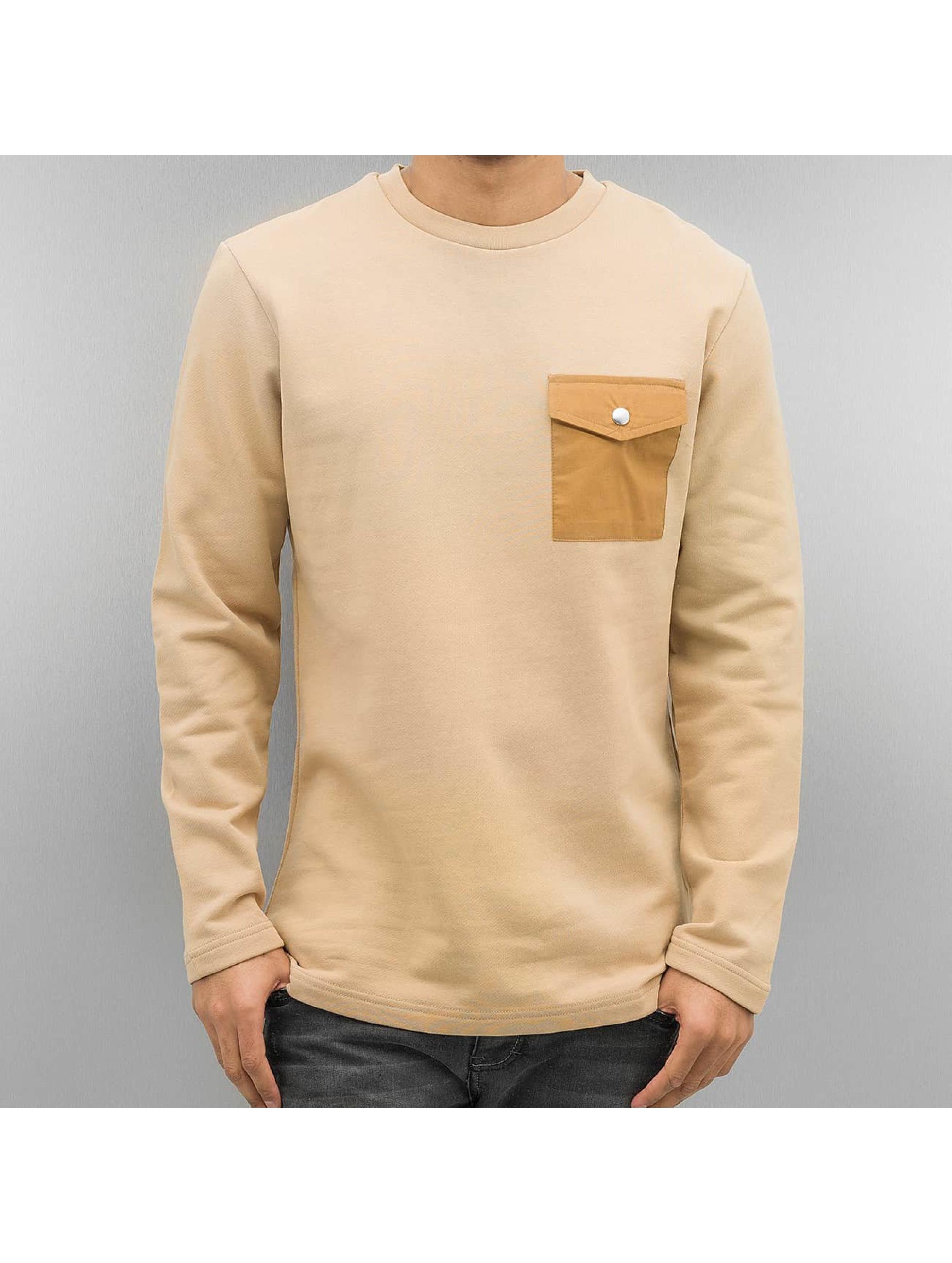 DEF Männer Pullover Strapes in beige