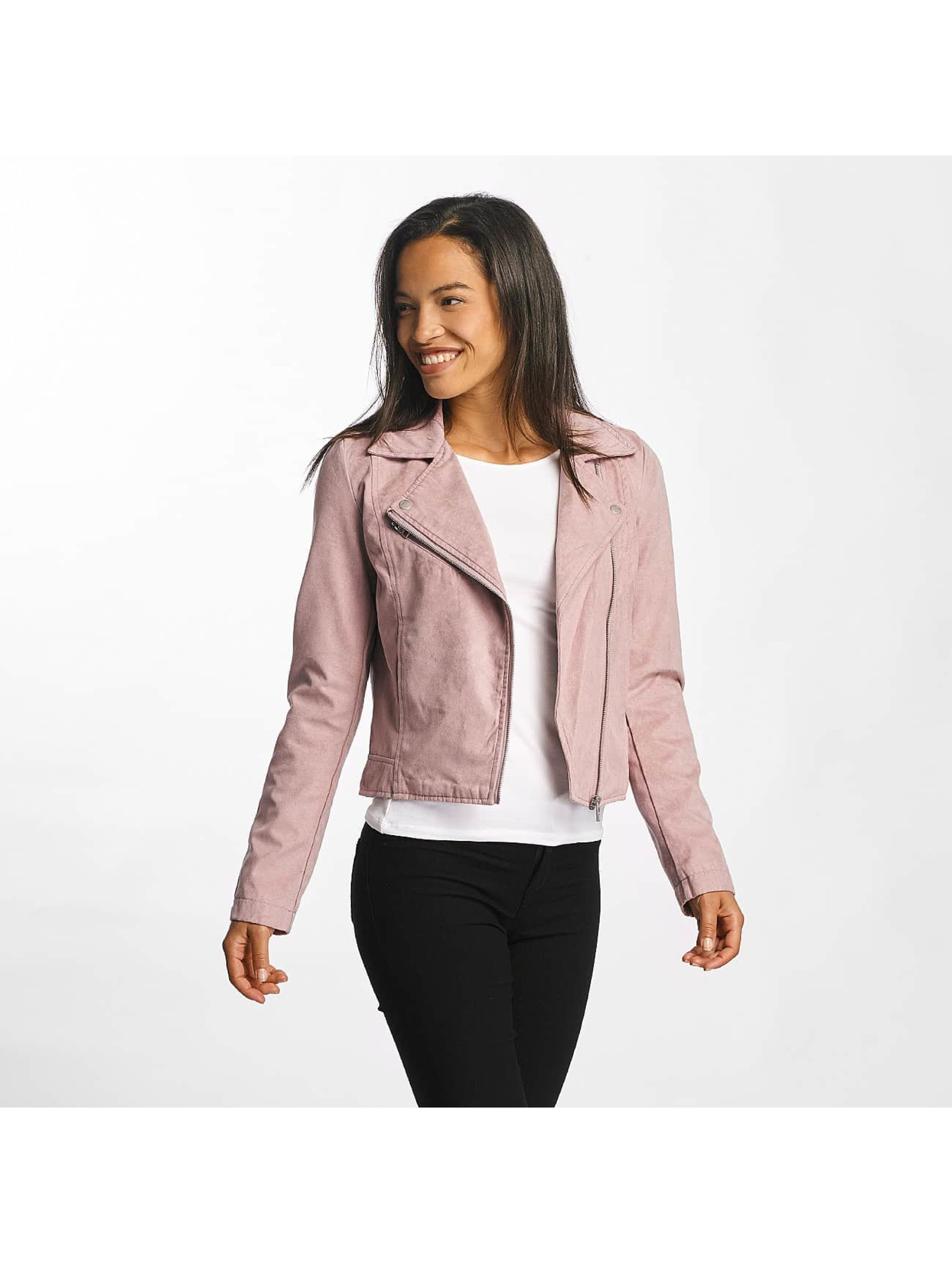 JACQUELINE de YONG Frauen Lederjacke jdyPenny Cropped Faux Suede Biker in rosa