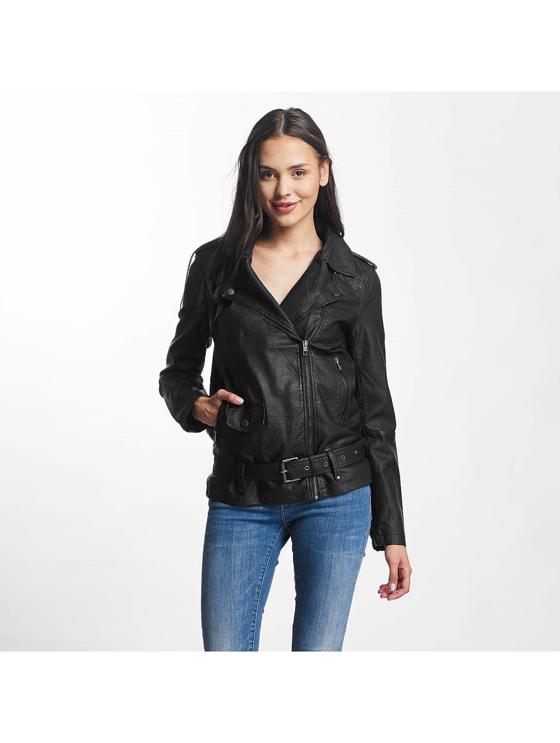 JACQUELINE de YONG Frauen Lederjacke jdyErica Long Faux Leather Biker in schwarz