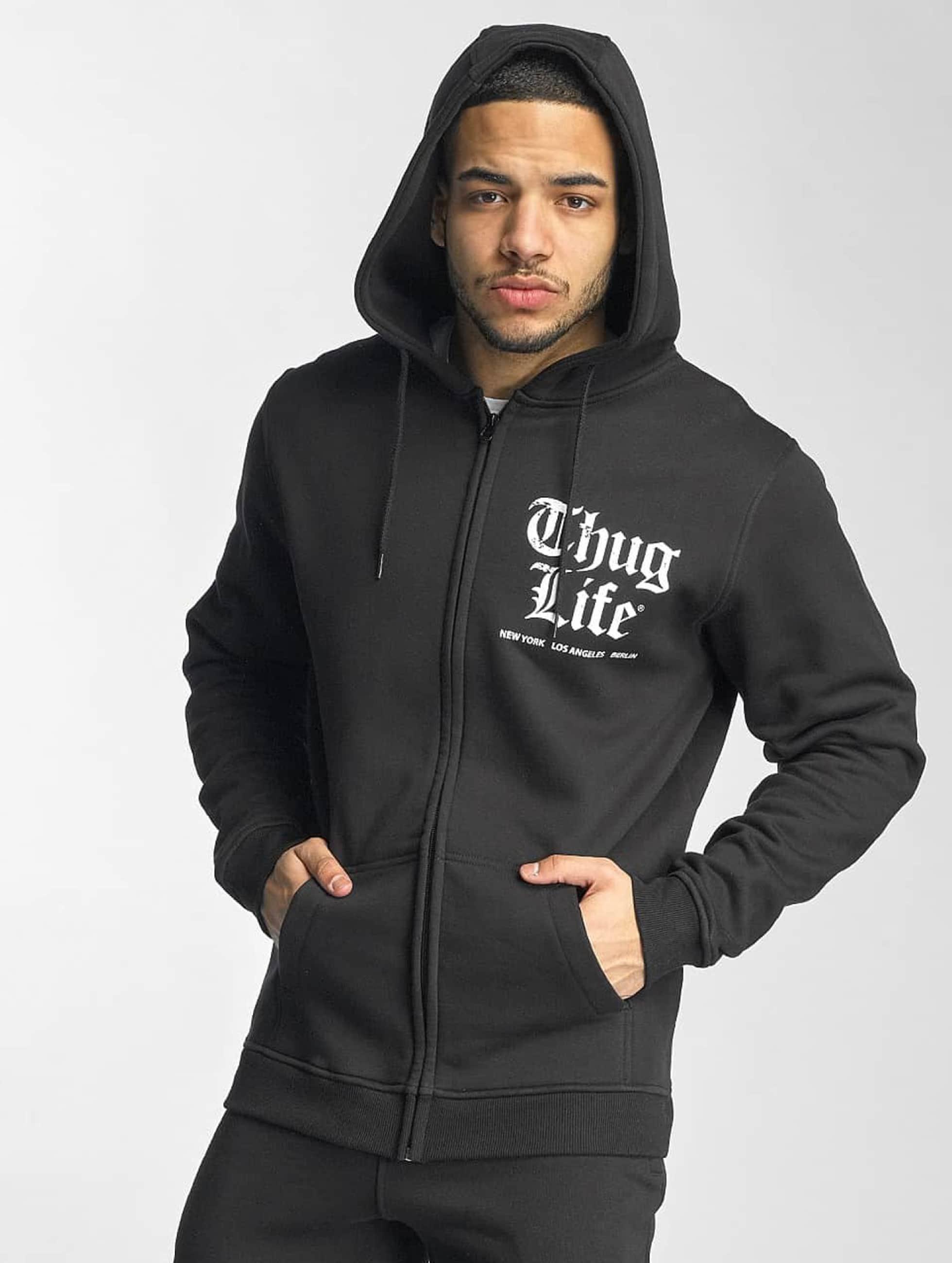 Thug Life Basic Männer Zip Hoodie Chest Cities in schwarz