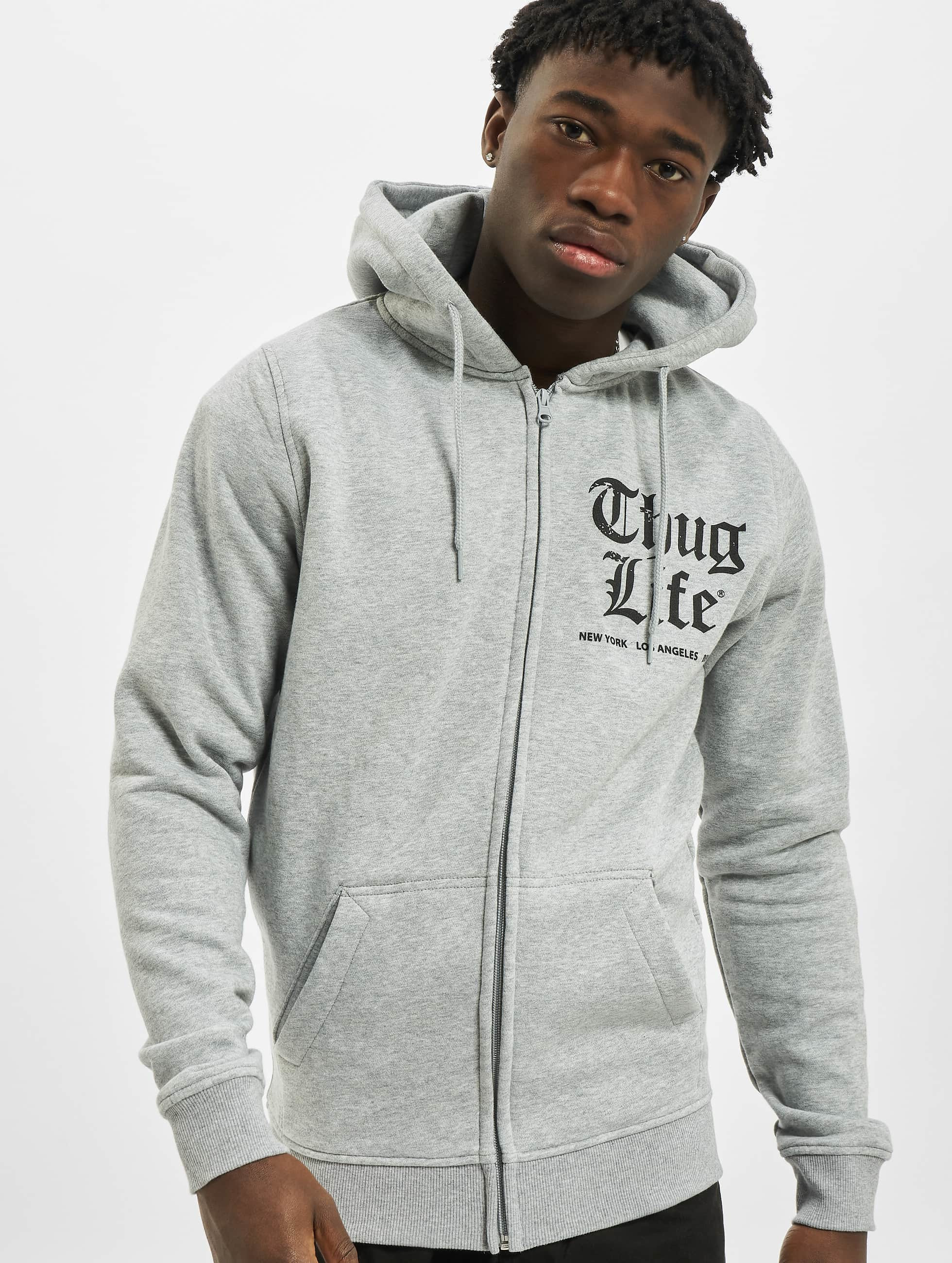 Thug Life Basic Männer Zip Hoodie Chest Cities in grau