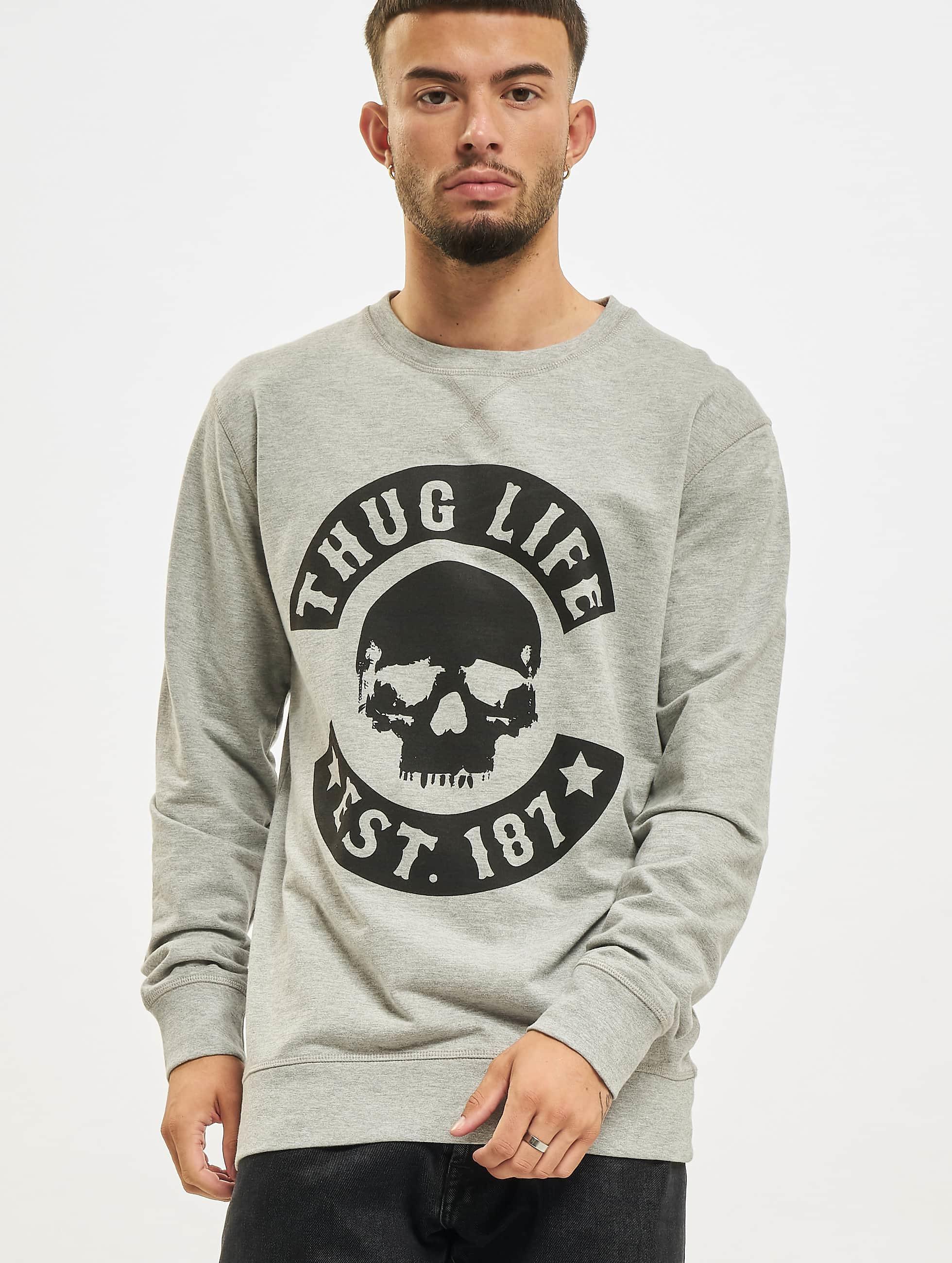 Thug Life Basic Männer Pullover Skull in grau