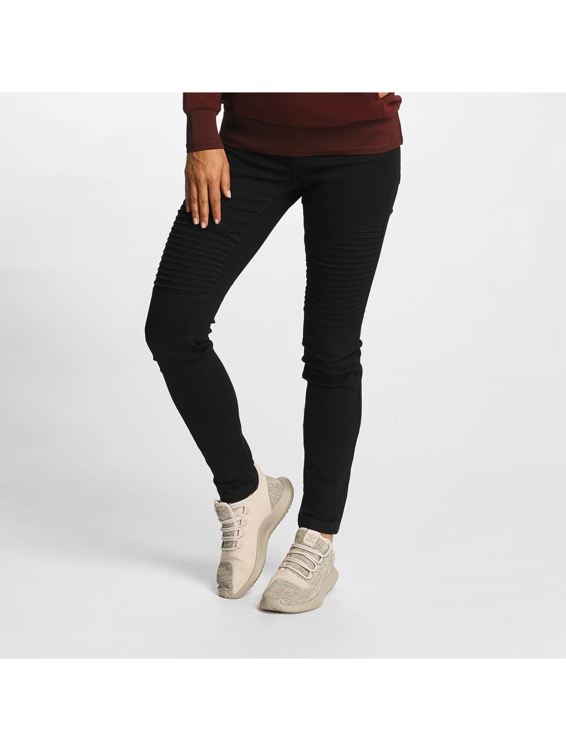 Vero Moda Frauen Skinny Jeans vmSeven Biker in schwarz