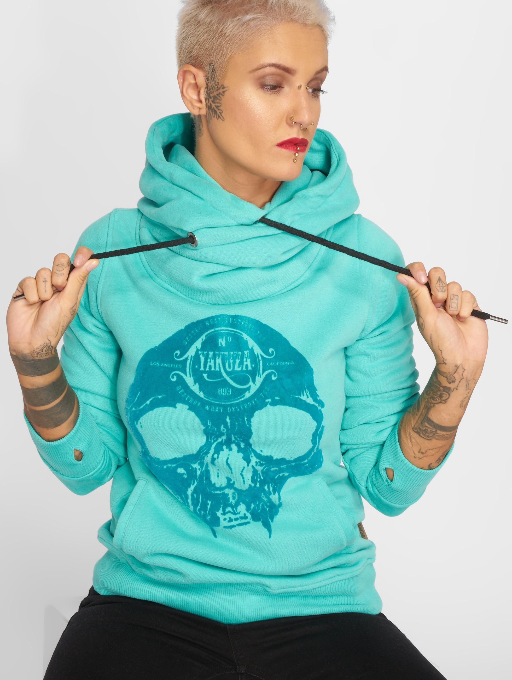 Yakuza Velvet Skull II Hoody Turquoise