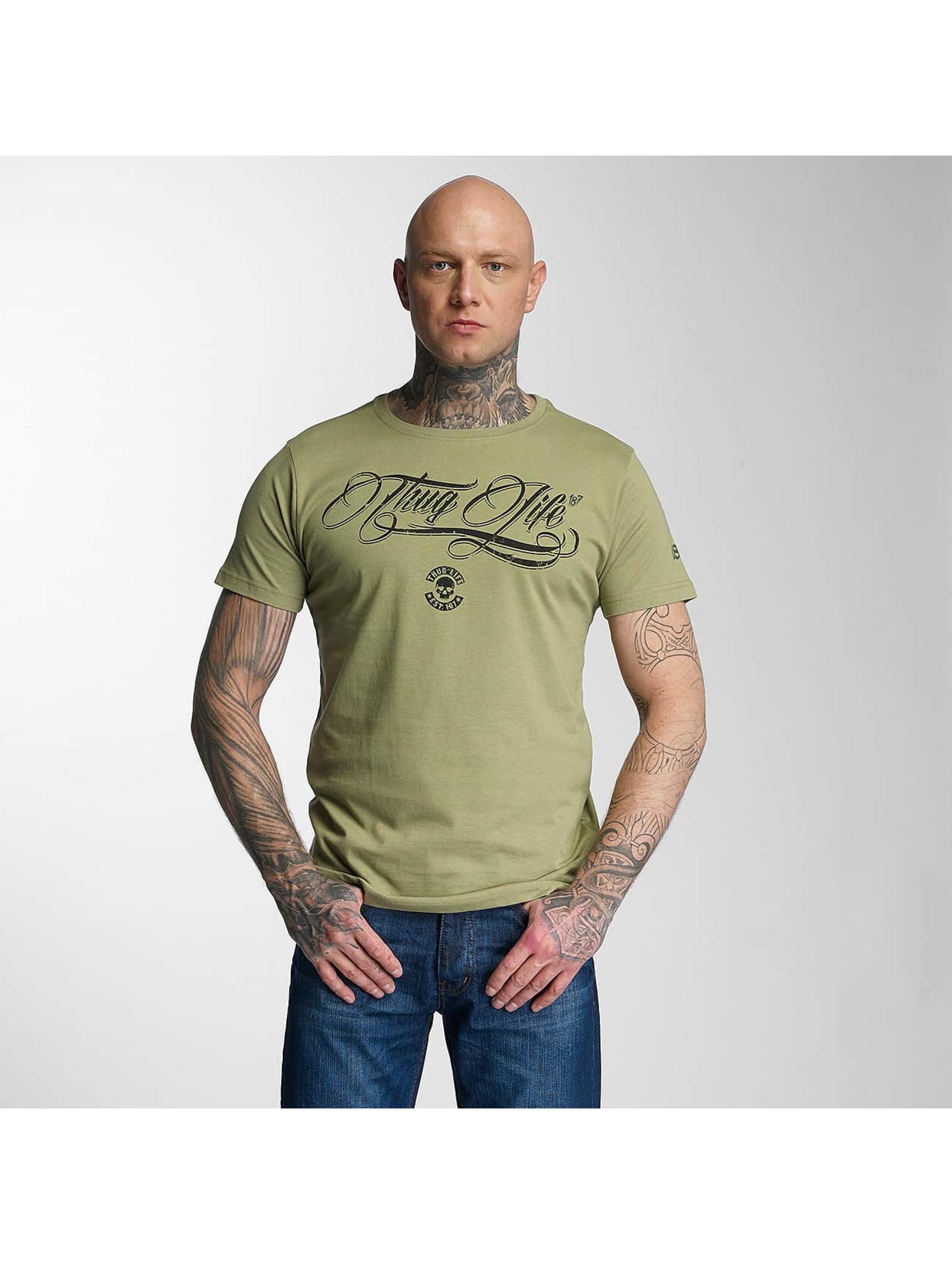 Thug Life Männer T-Shirt Kursiv in olive
