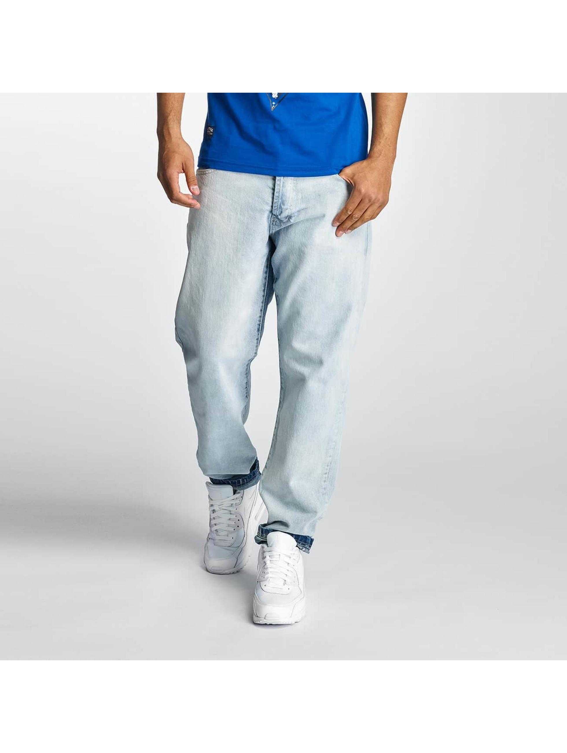 Thug Life Männer Karottenjeans Washed in blau