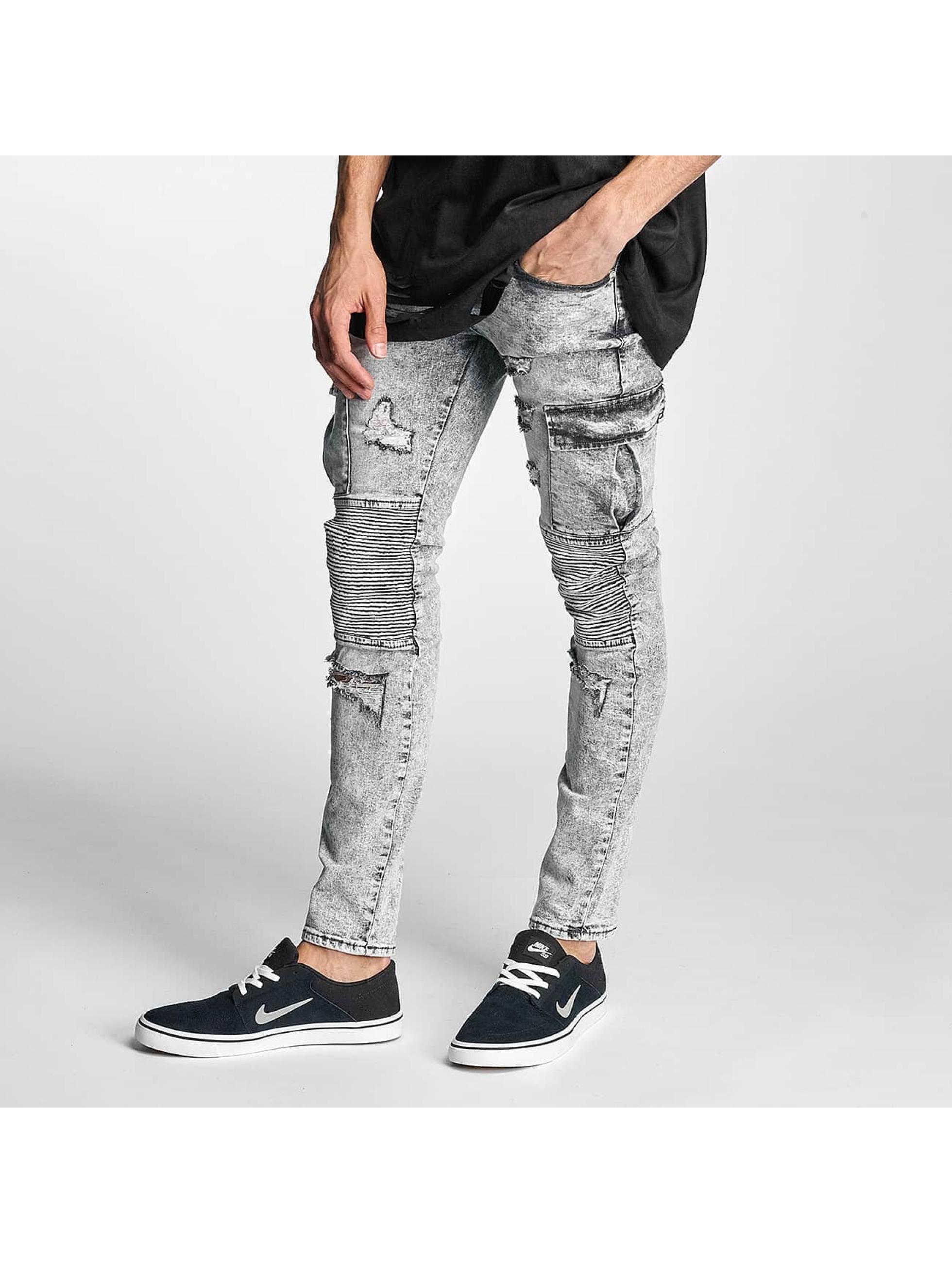 Sixth June Männer Slim Fit Jeans Biker Cargo in grau