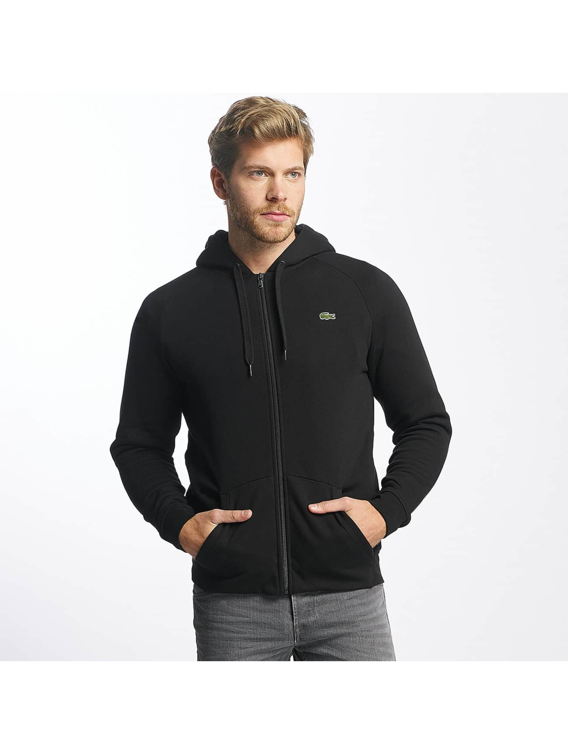 Lacoste Classic Männer Zip Hoodie Fleece in schwarz