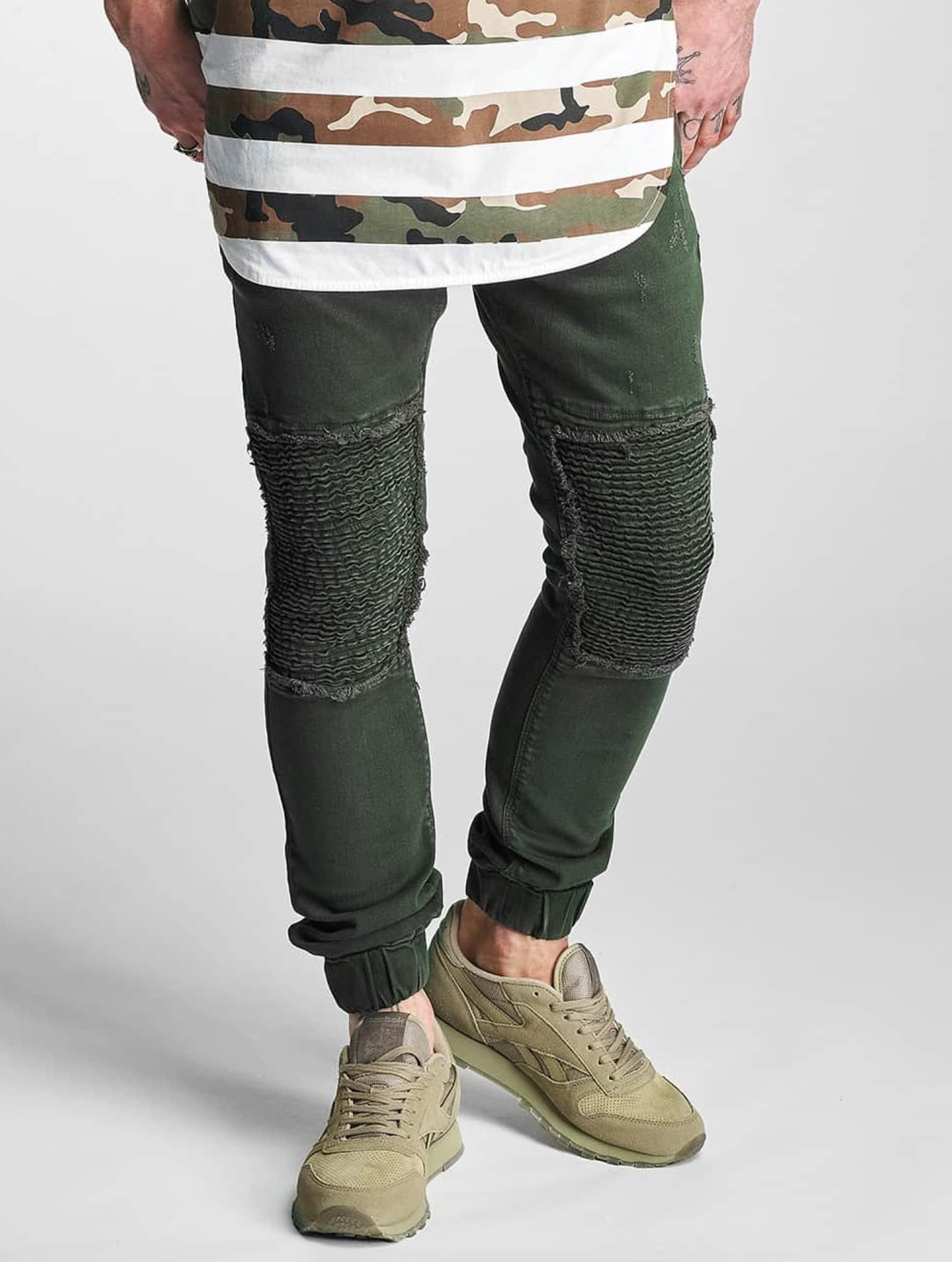 2Y Männer Slim Fit Jeans Denim Jogger in olive
