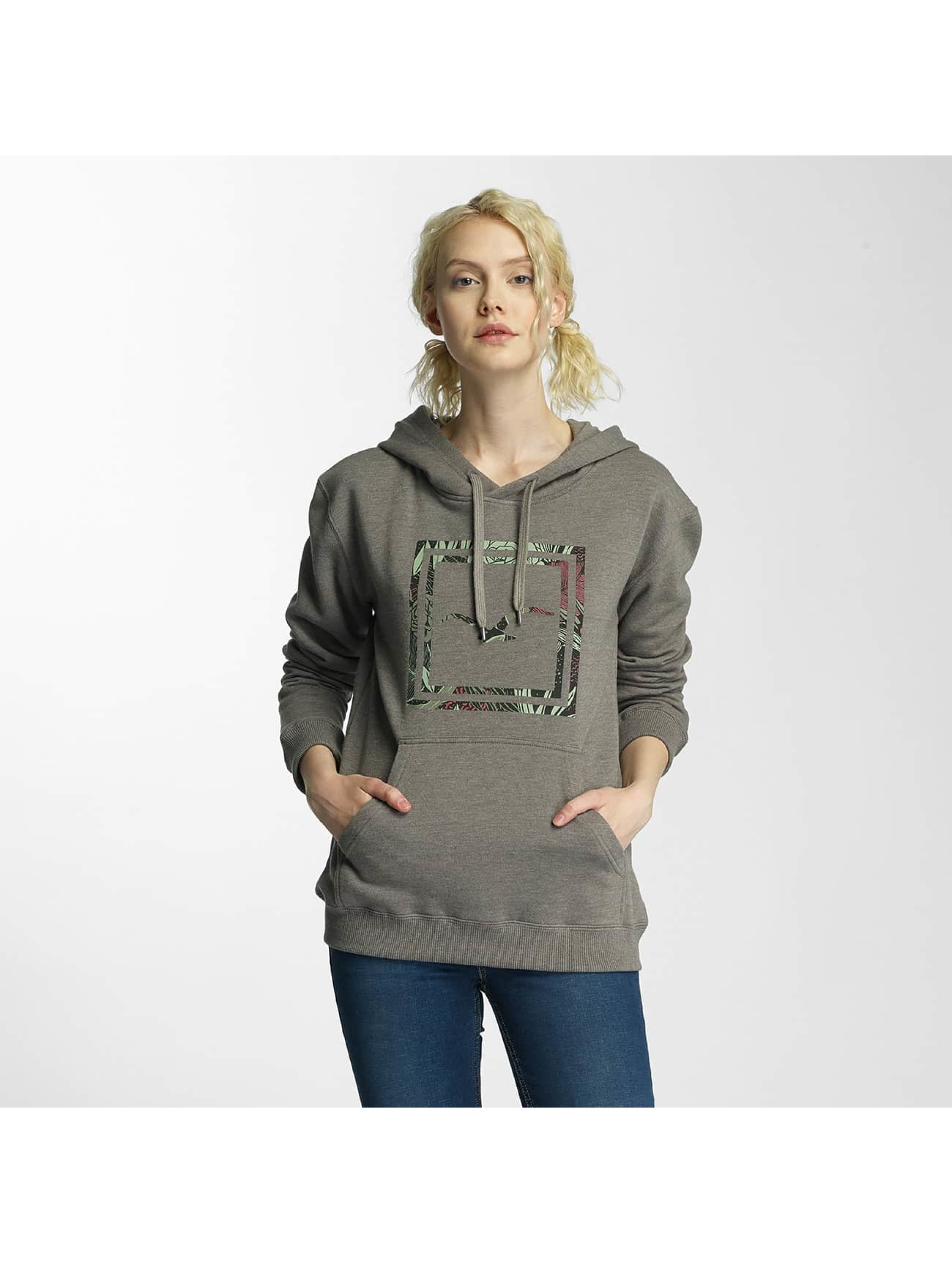 Cleptomanicx Frauen Hoody Floral Box in olive