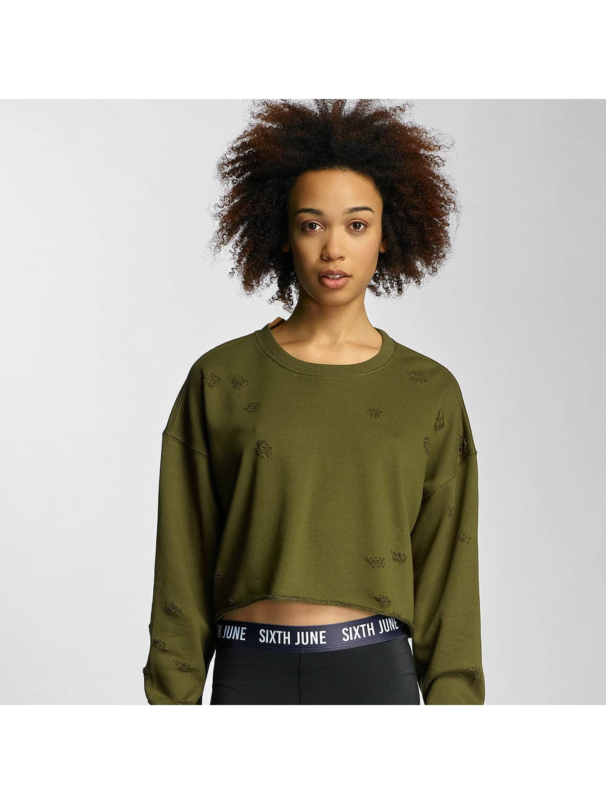 Sixth June Frauen Pullover Destroyed Cropped in khaki