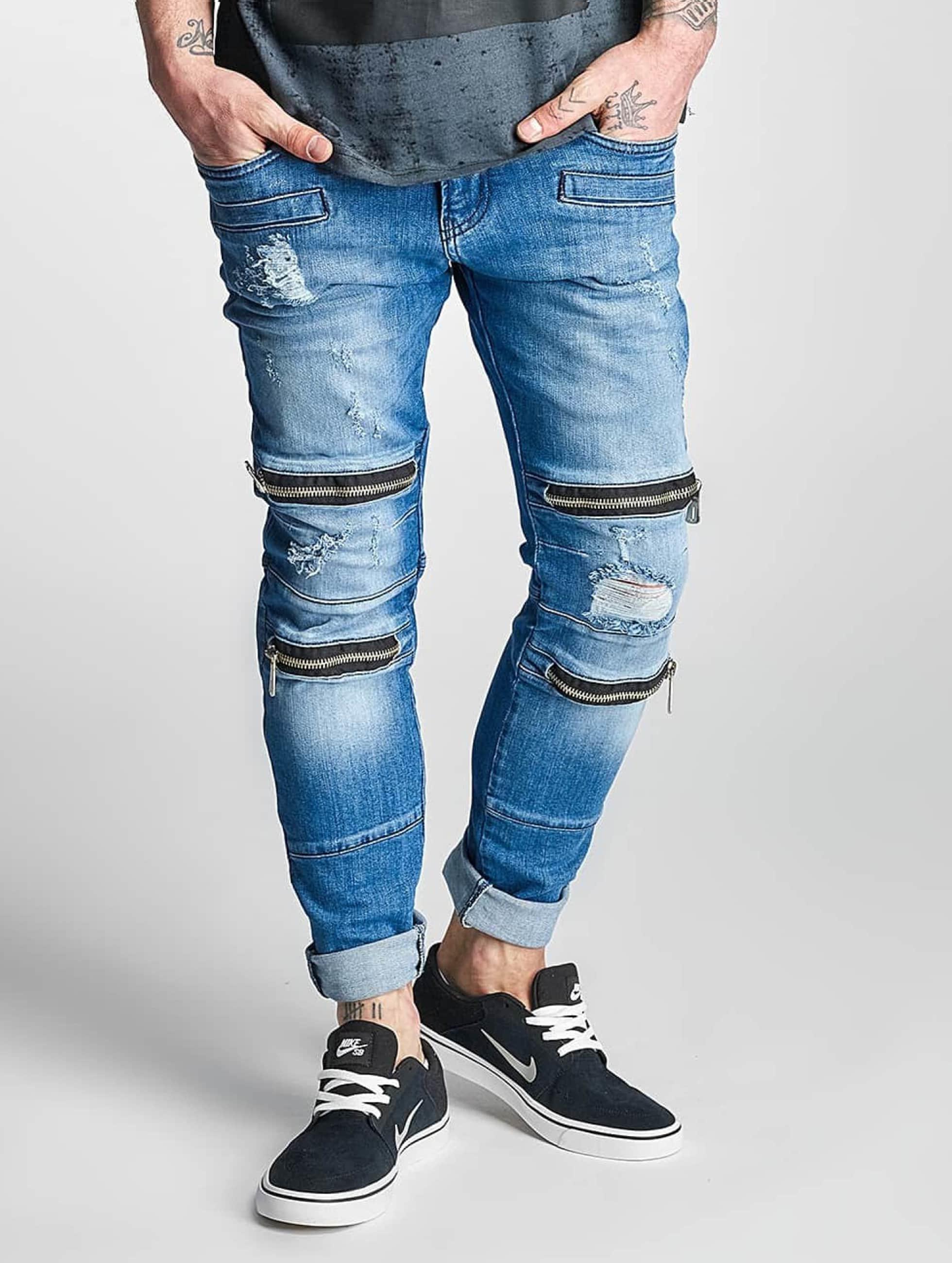 2Y Männer Slim Fit Jeans Bars in blau