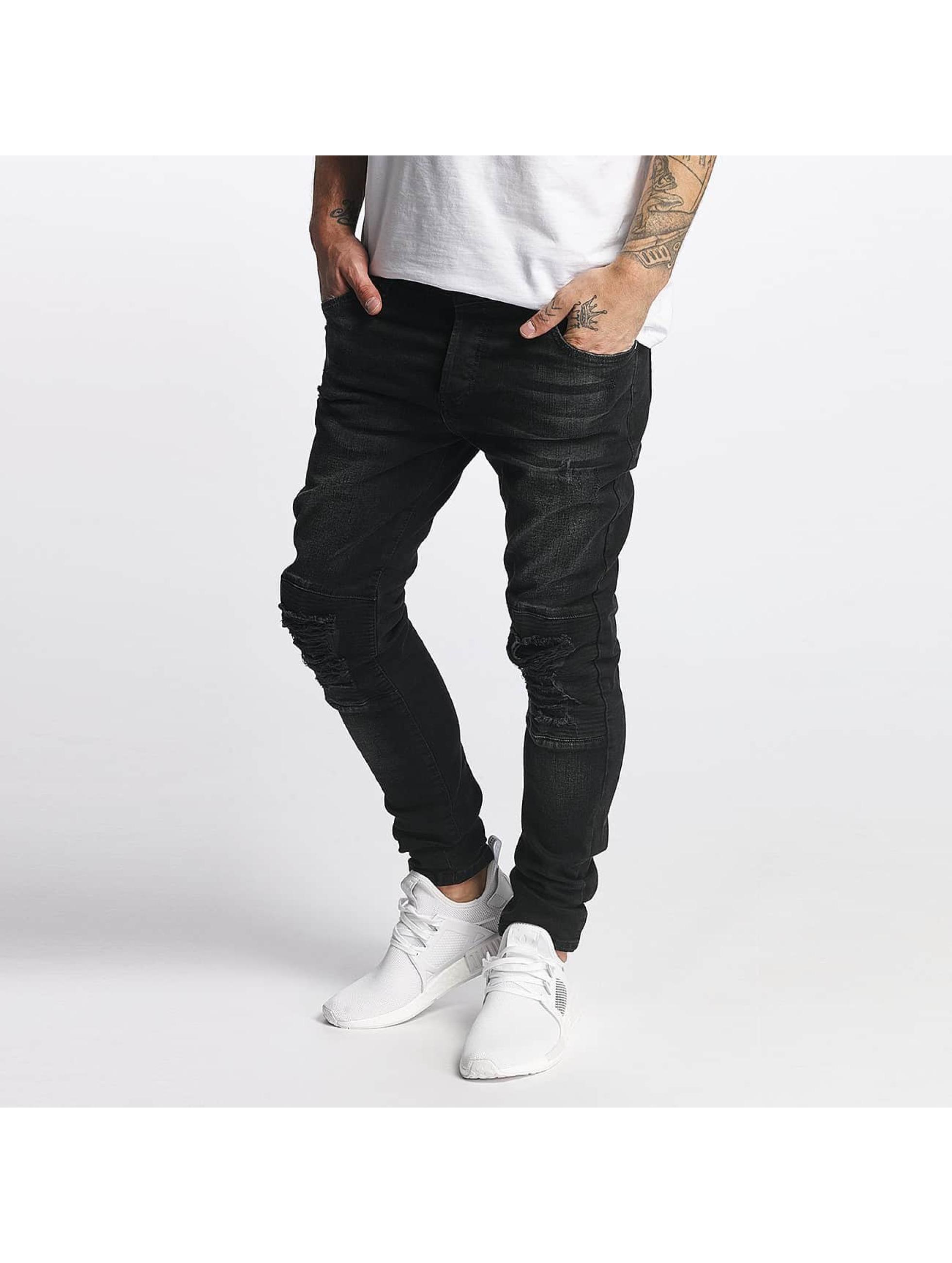 VSCT Clubwear Männer Slim Fit Jeans Knox Kneecut Leahter Kneepatch in schwarz