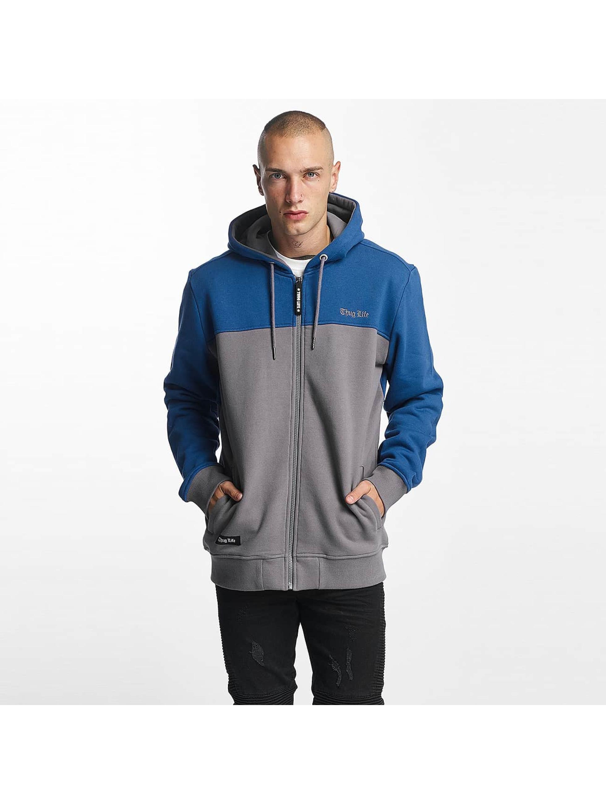 Thug Life Männer Zip Hoodie THGLFE in blau