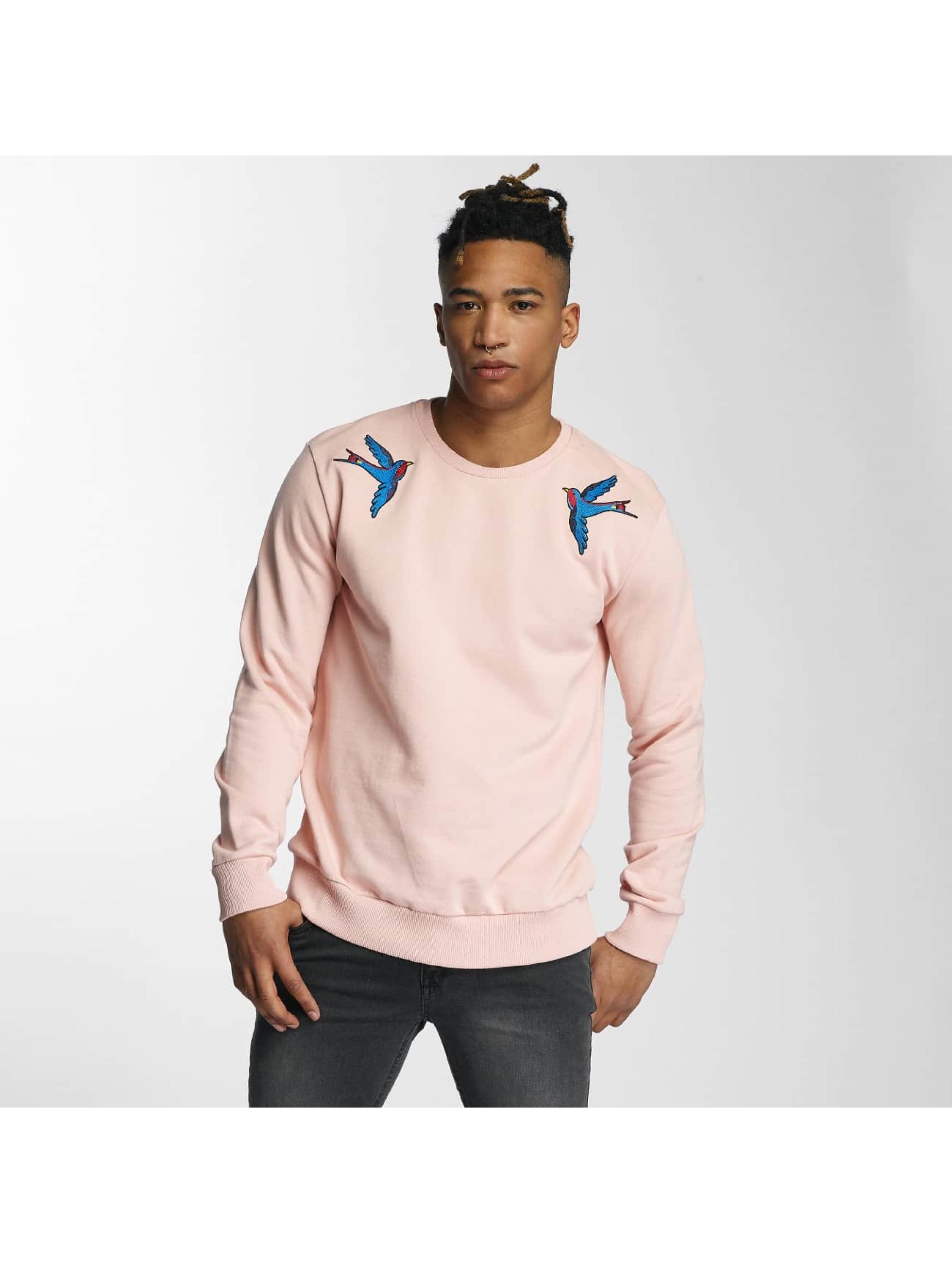 Criminal Damage Männer Pullover Swallows in rosa