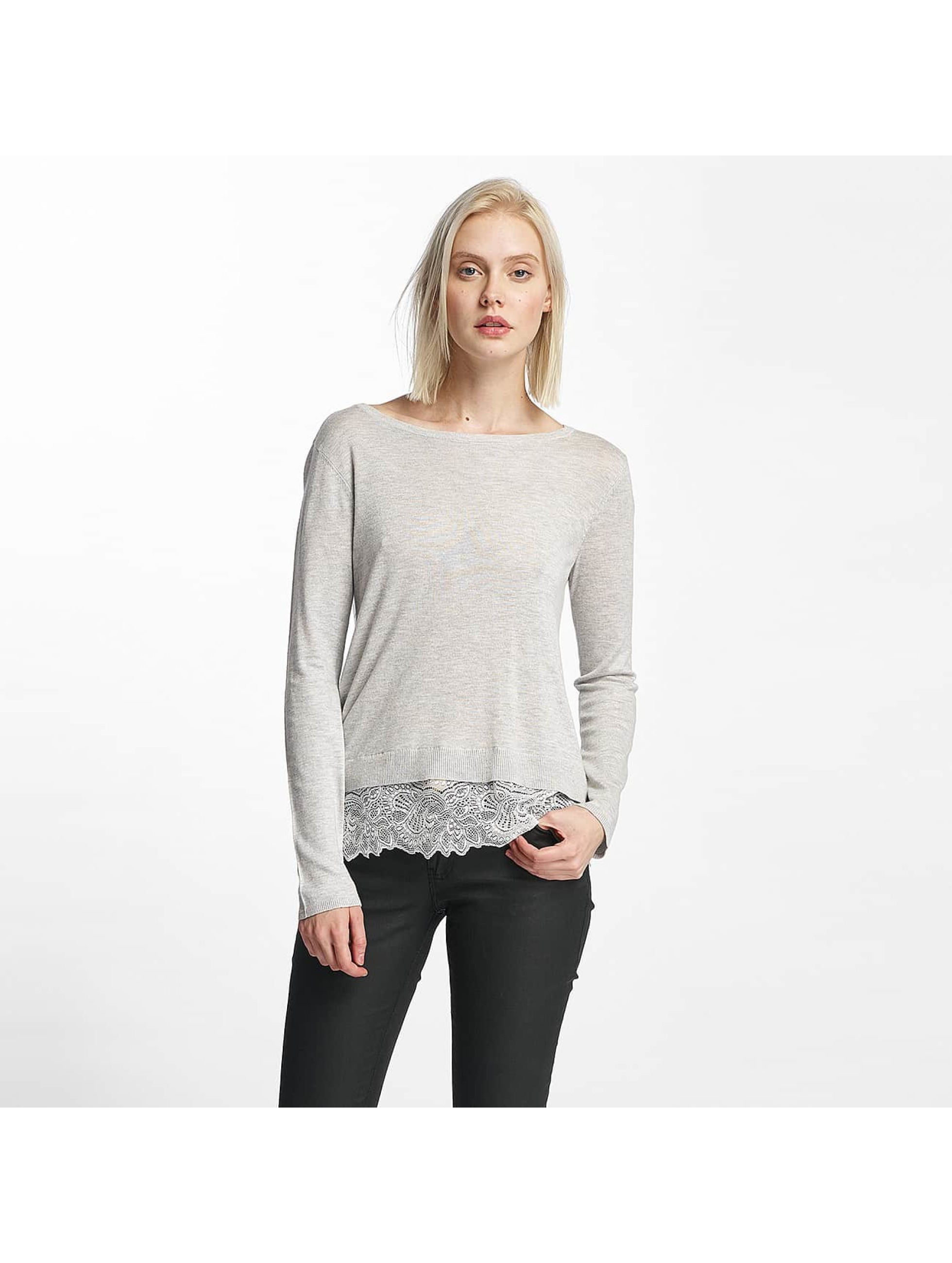 Only Frauen Pullover onlShirtley Lace in grau