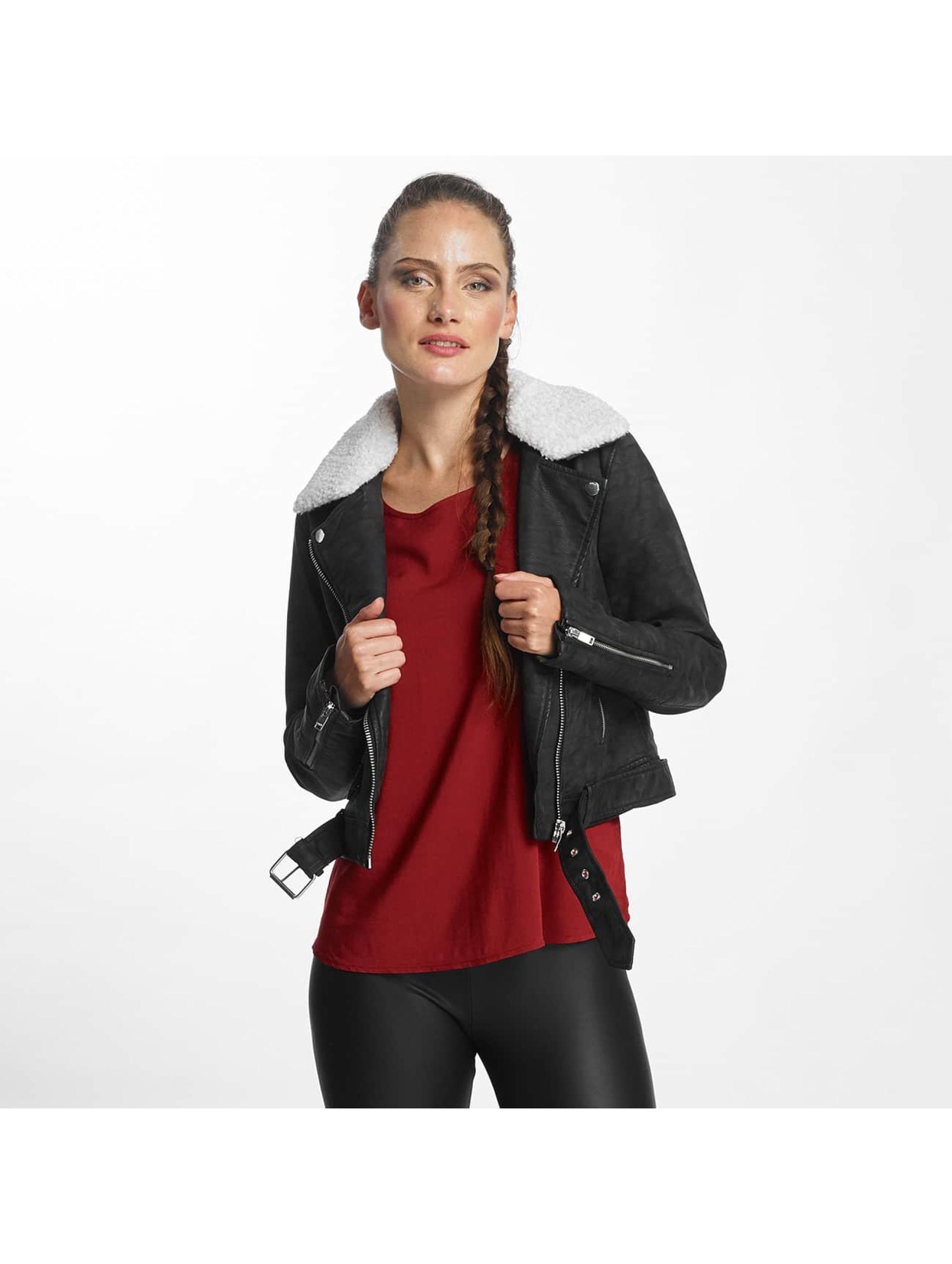 Only Frauen Lederjacke onlDanielle Faux Leather Biker in schwarz