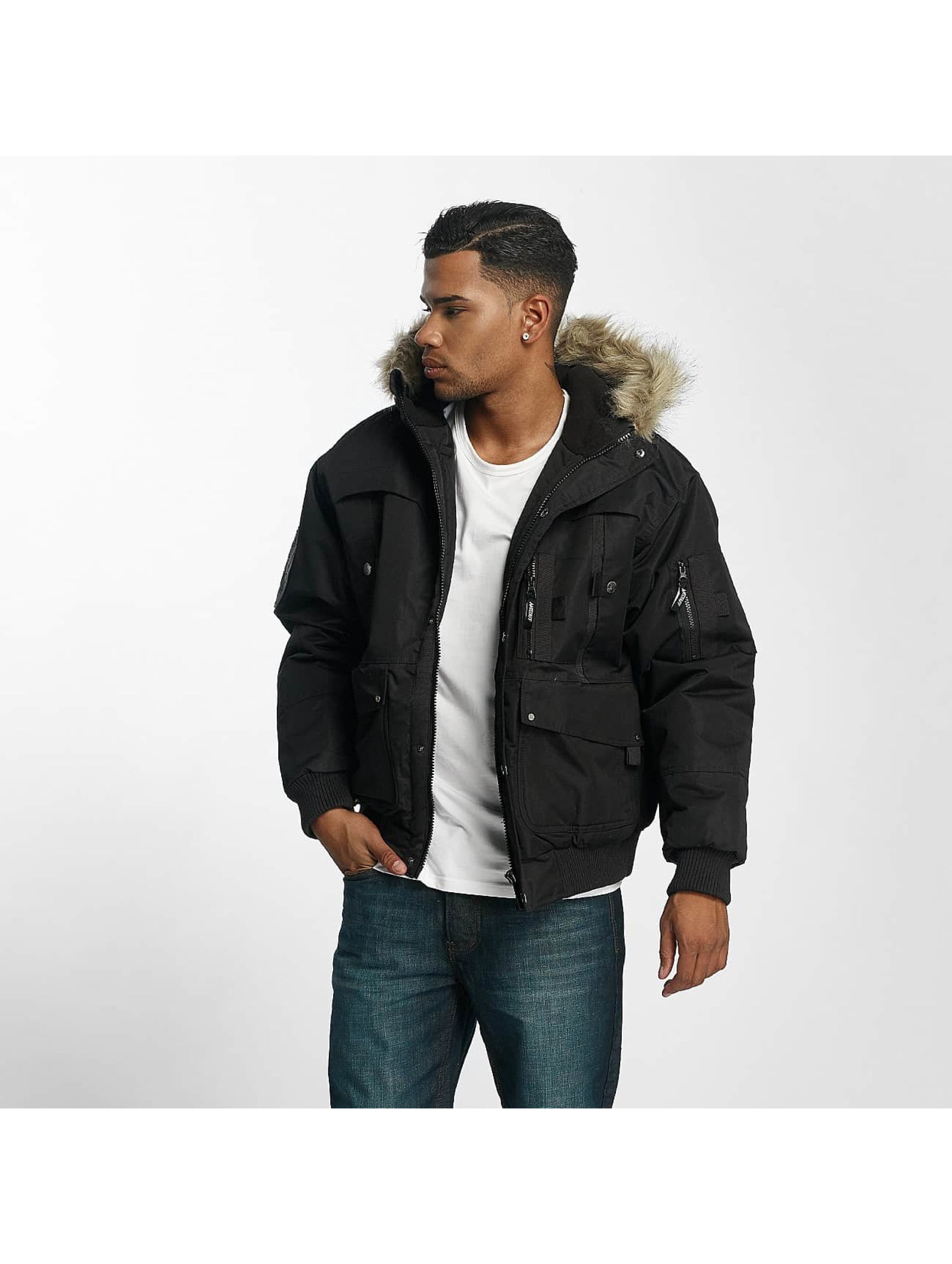 Amstaff Männer Winterjacke Fur in schwarz