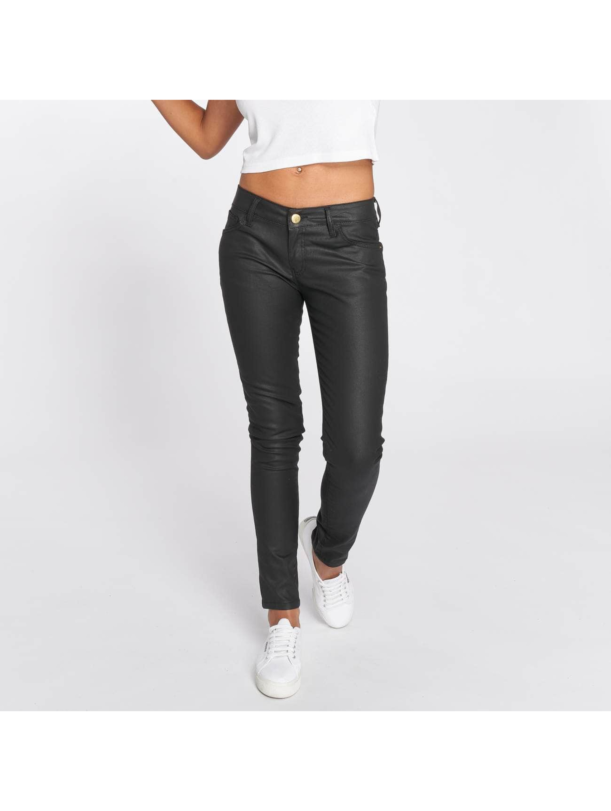 DEF Frauen Slim Fit Jeans Leatherlook in schwarz