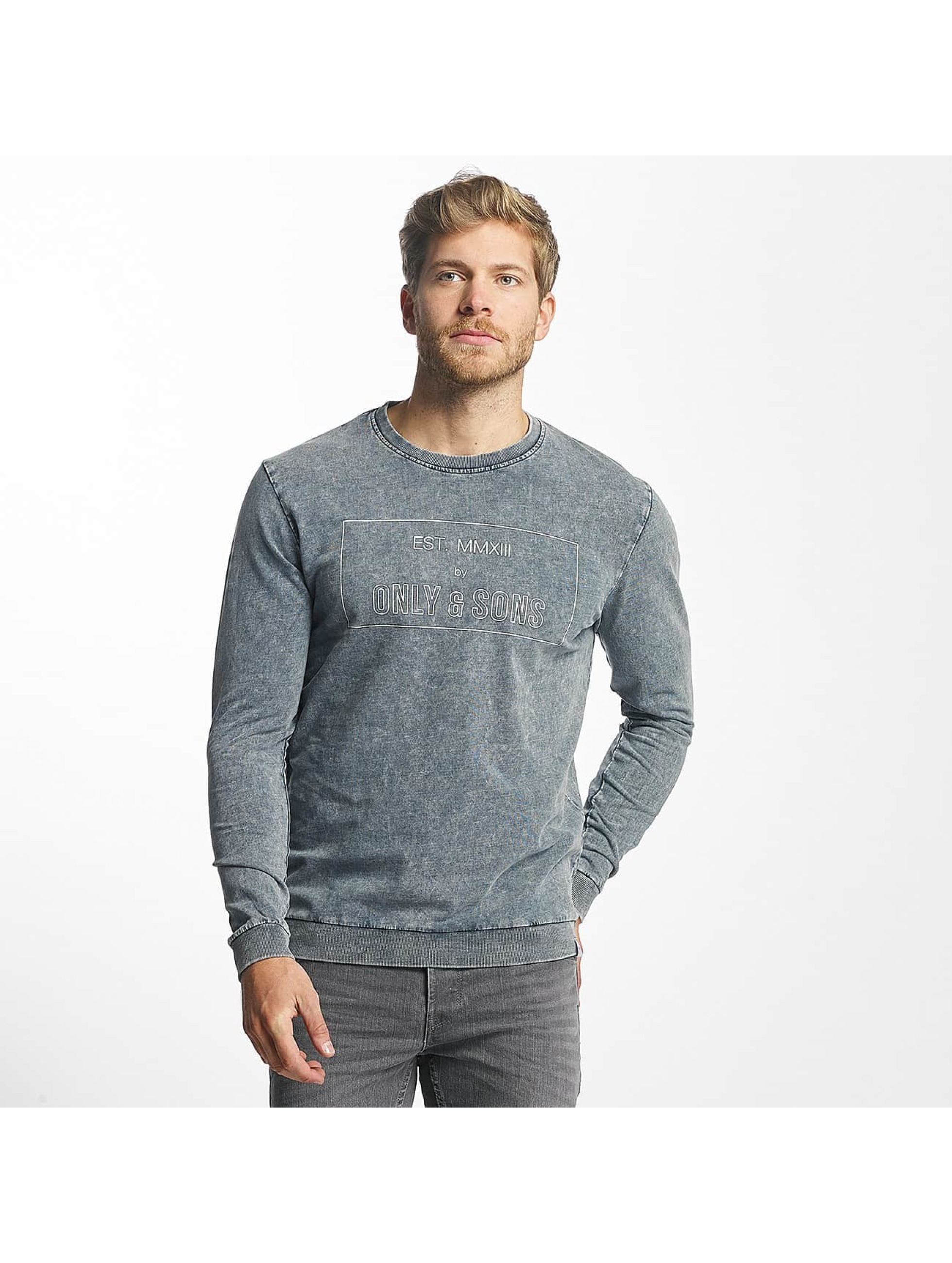 Only & Sons Männer Pullover onsTrent Printed in blau