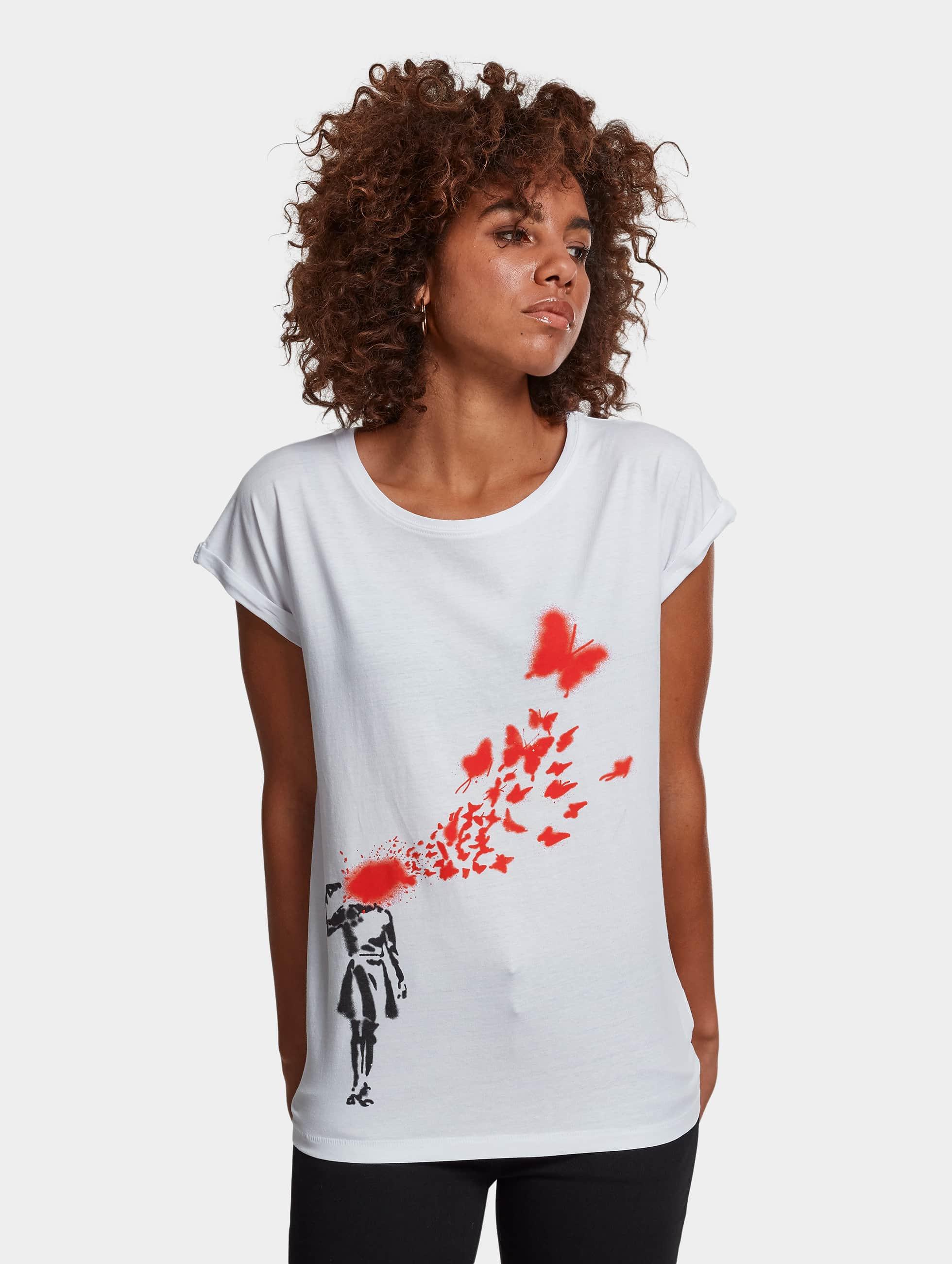 Merchcode Frauen T-Shirt Ladies Banksy in weiß