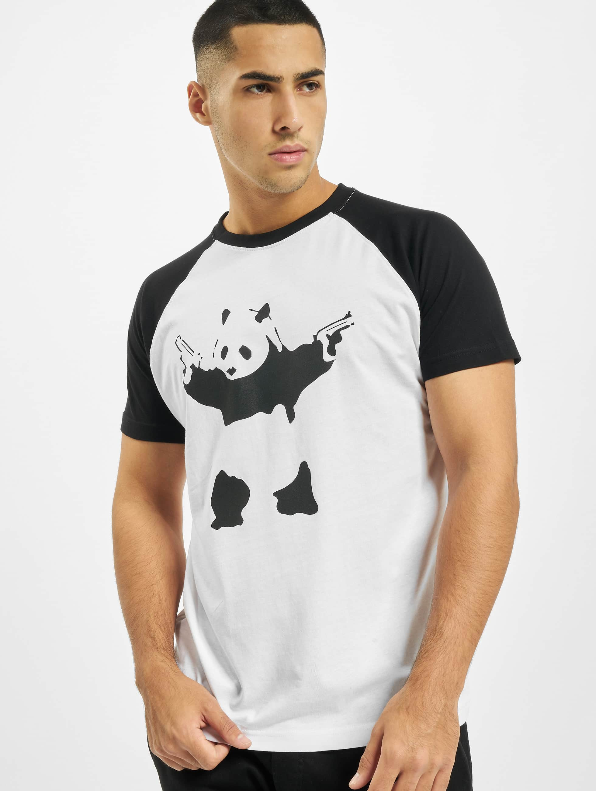 Merchcode Männer T-Shirt Banksy Panda Raglan in weiß