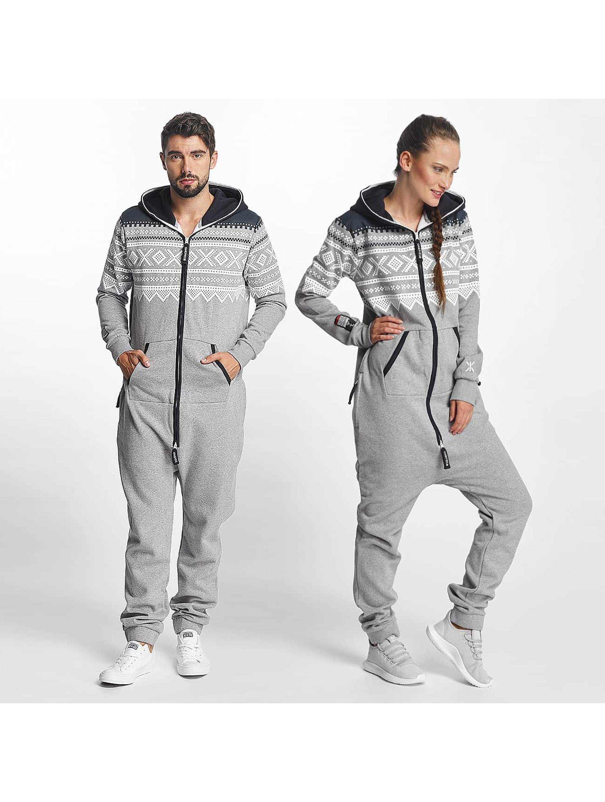 onepiece m nnerfrauen jumpsuit silvern in grau. Black Bedroom Furniture Sets. Home Design Ideas