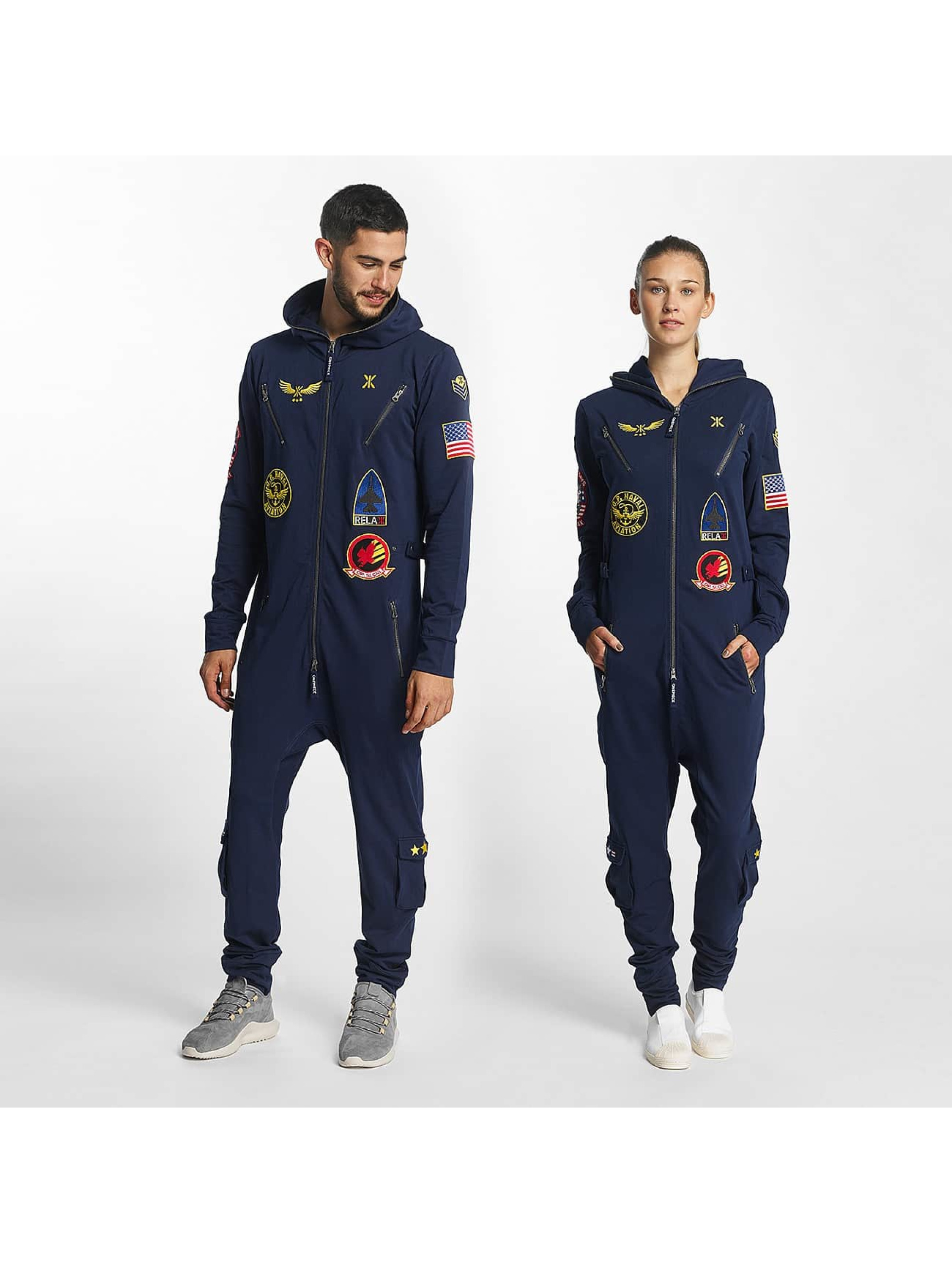 OnePiece Männer,Frauen Jumpsuit Aviator Onesie in blau