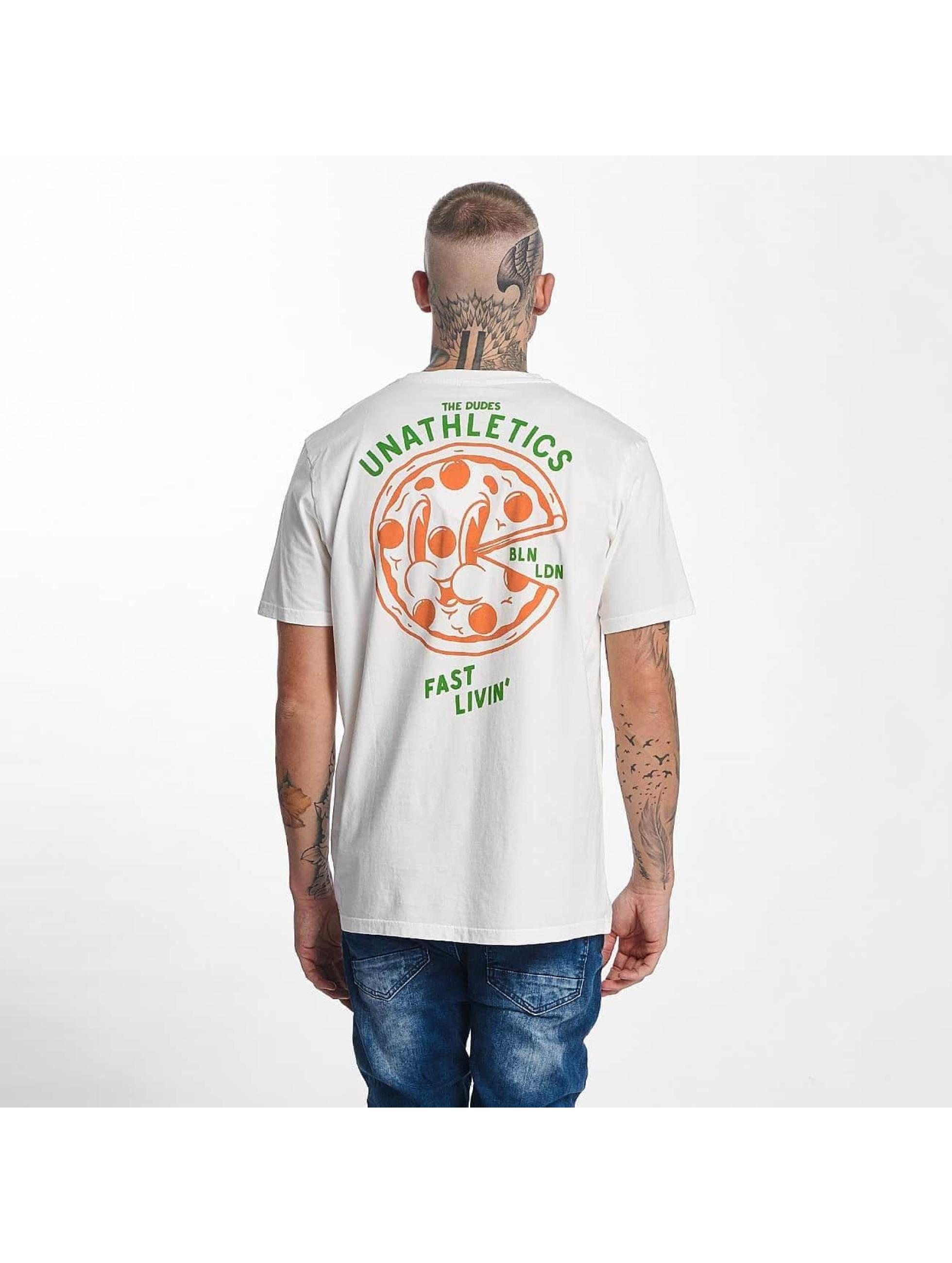 The Dudes Männer T-Shirt Pizza 24/7 in weiß