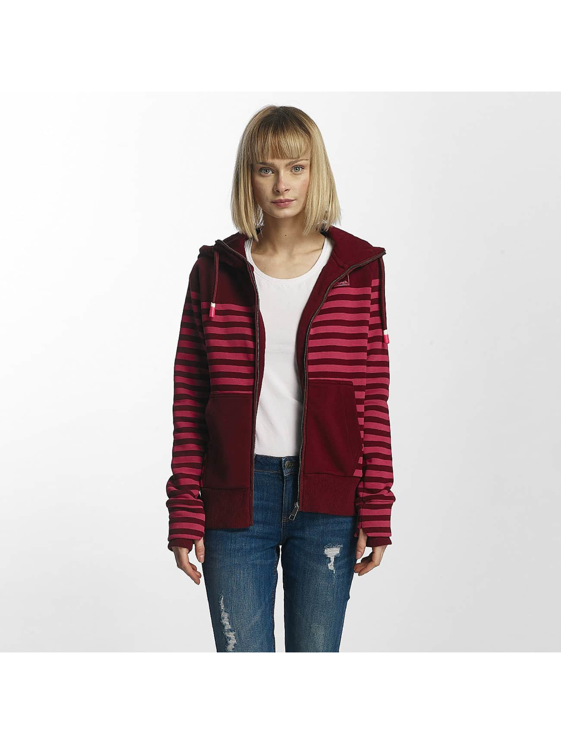 Bench Frauen Zip Hoodie Striped in rot