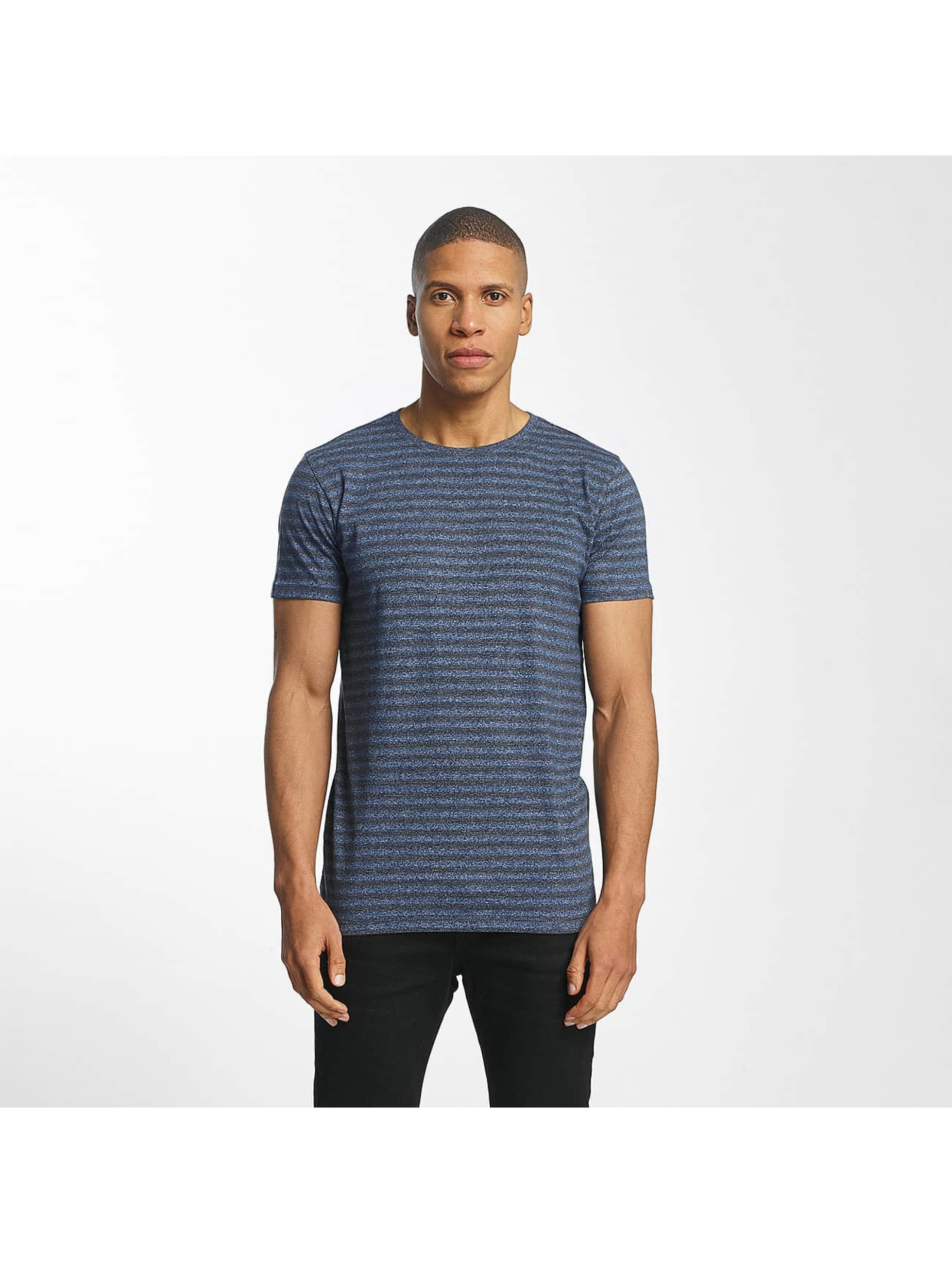 Lindbergh Männer T-Shirt Striped Mouline in blau