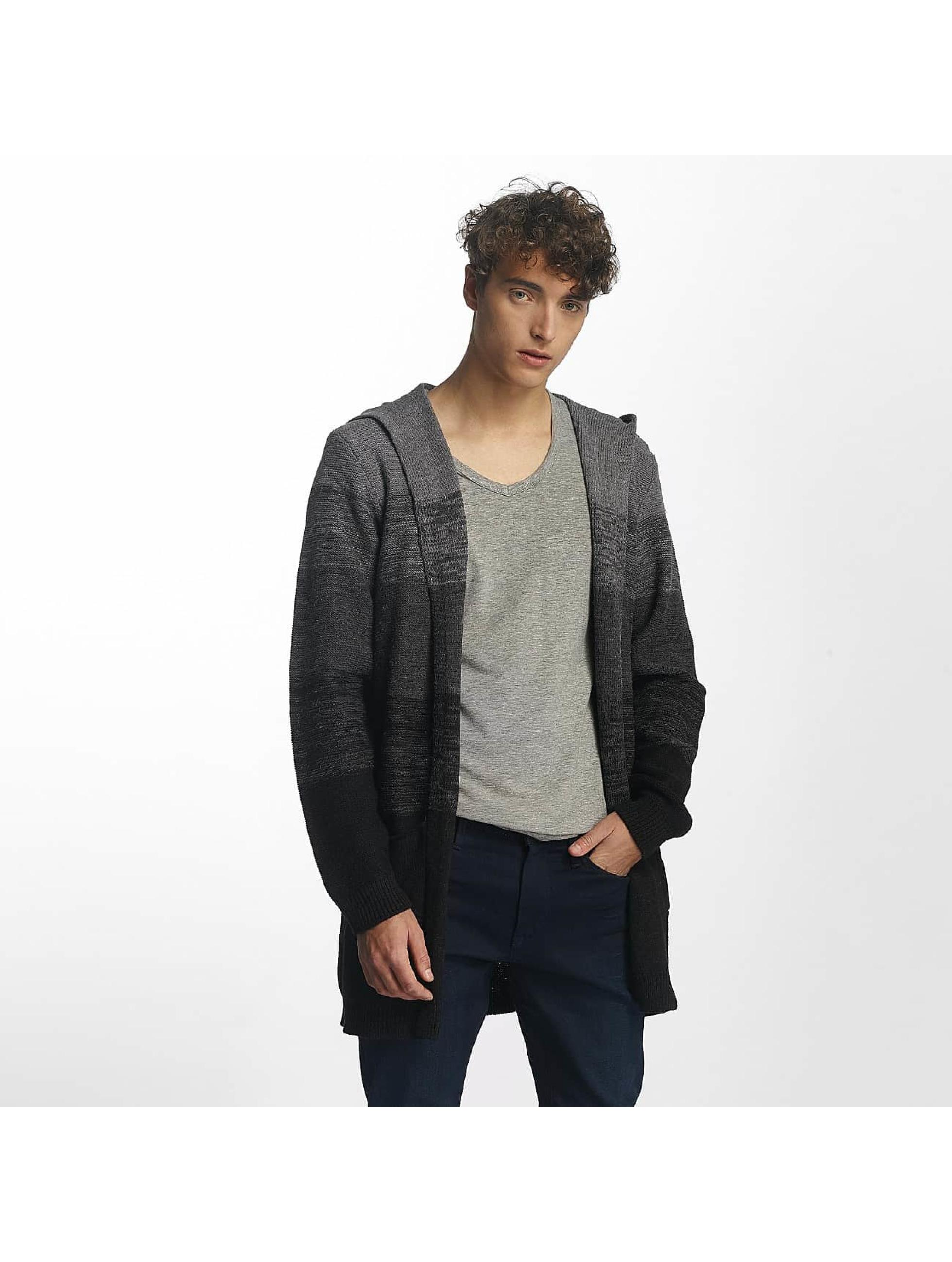 Mavi Jeans Männer Strickjacke Hoody Cardigan in schwarz