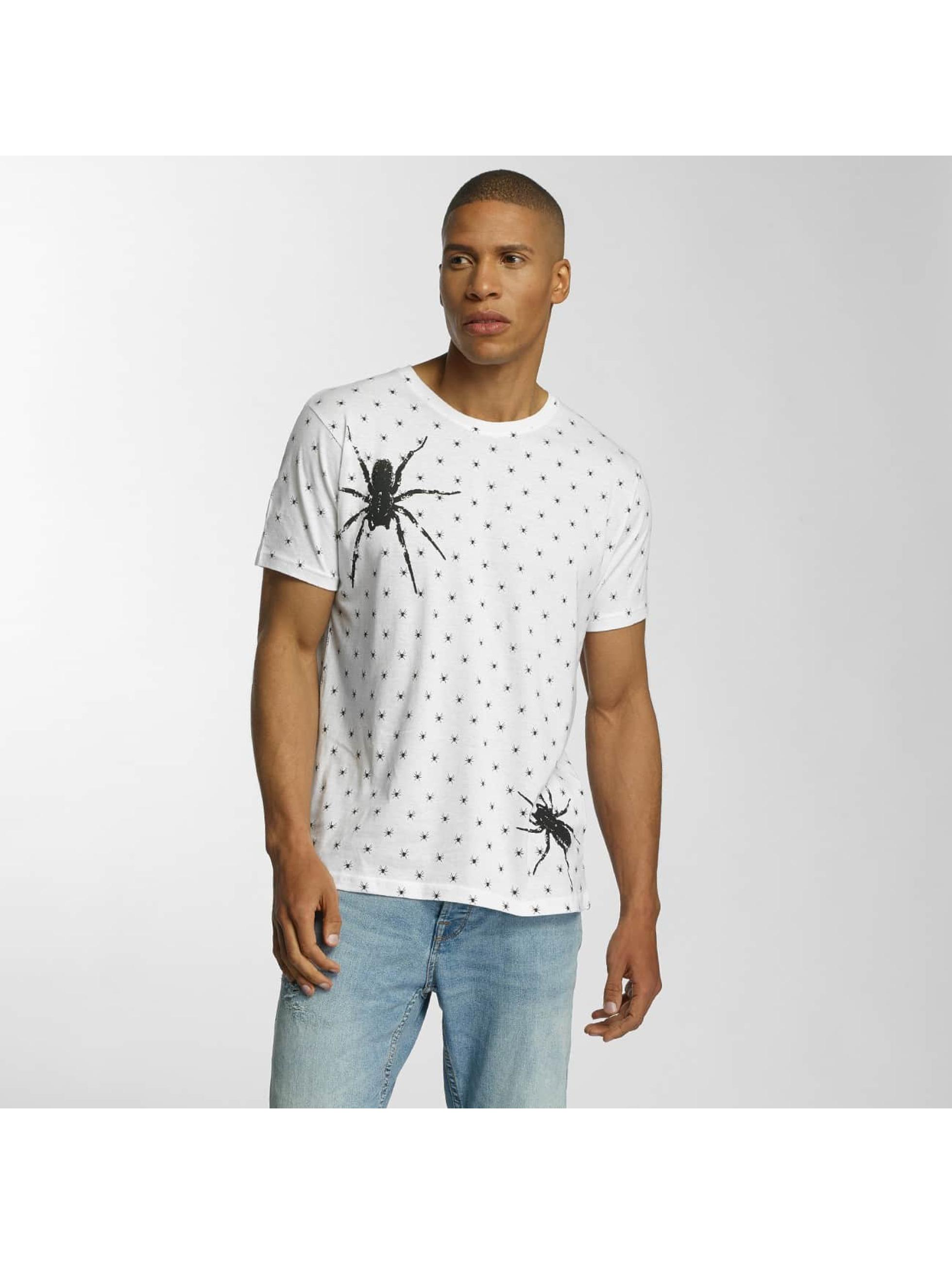 Brave Soul Männer T-Shirt All Over Spider Print in weiß