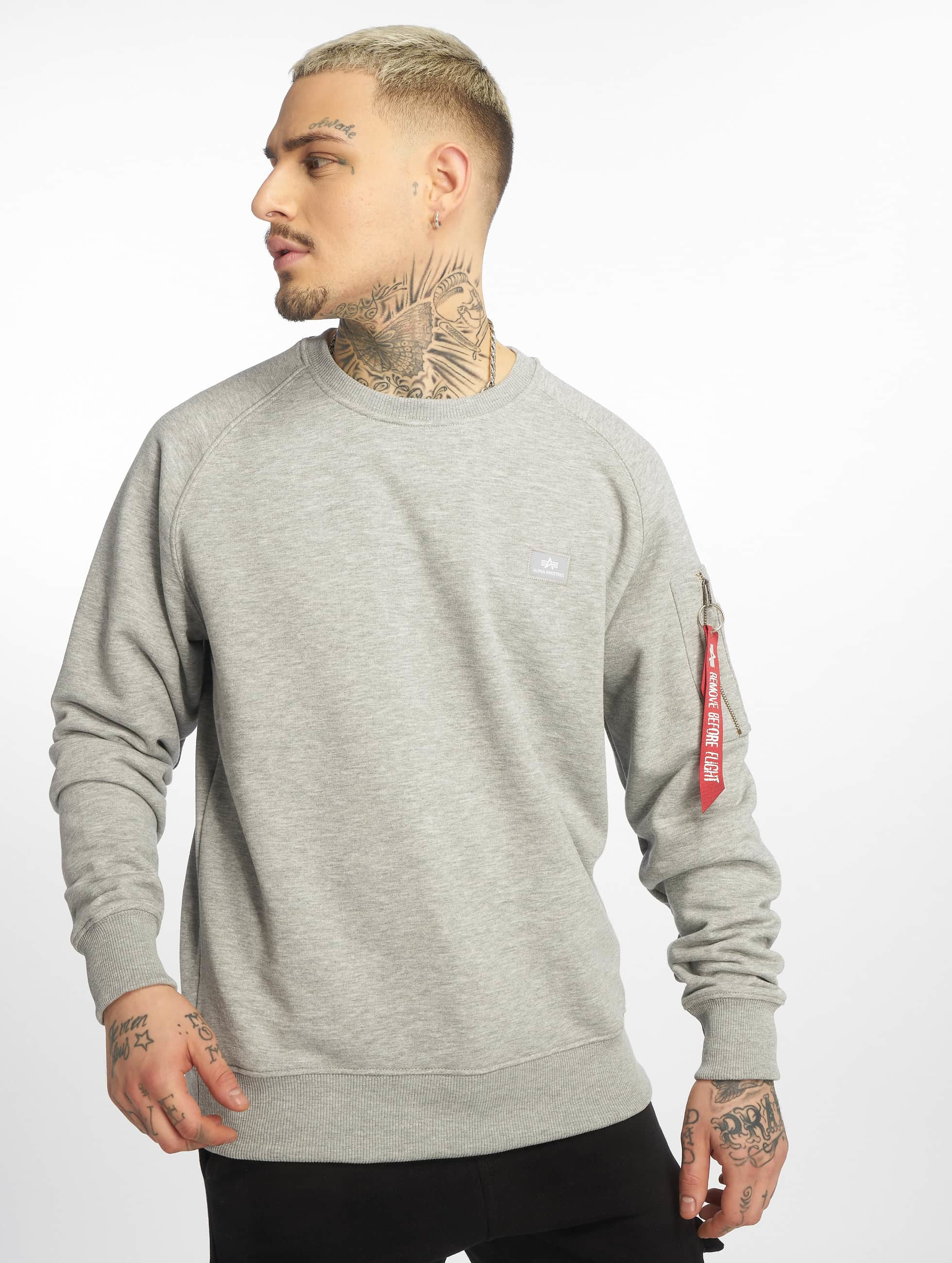 Alpha Industries Männer Pullover X-Fit in grau
