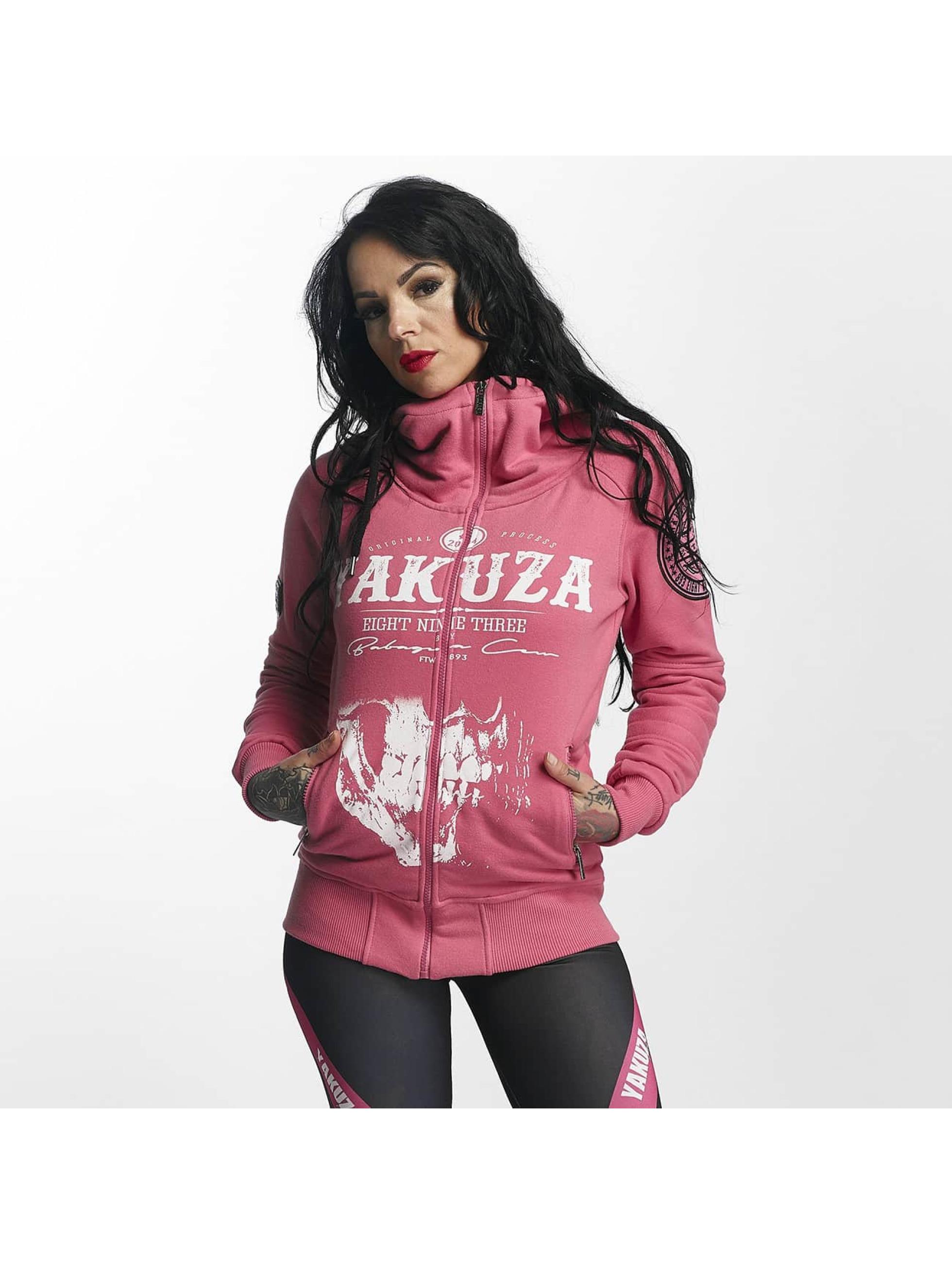 Yakuza Frauen Zip Hoodie Daily Skull High Neck in pink