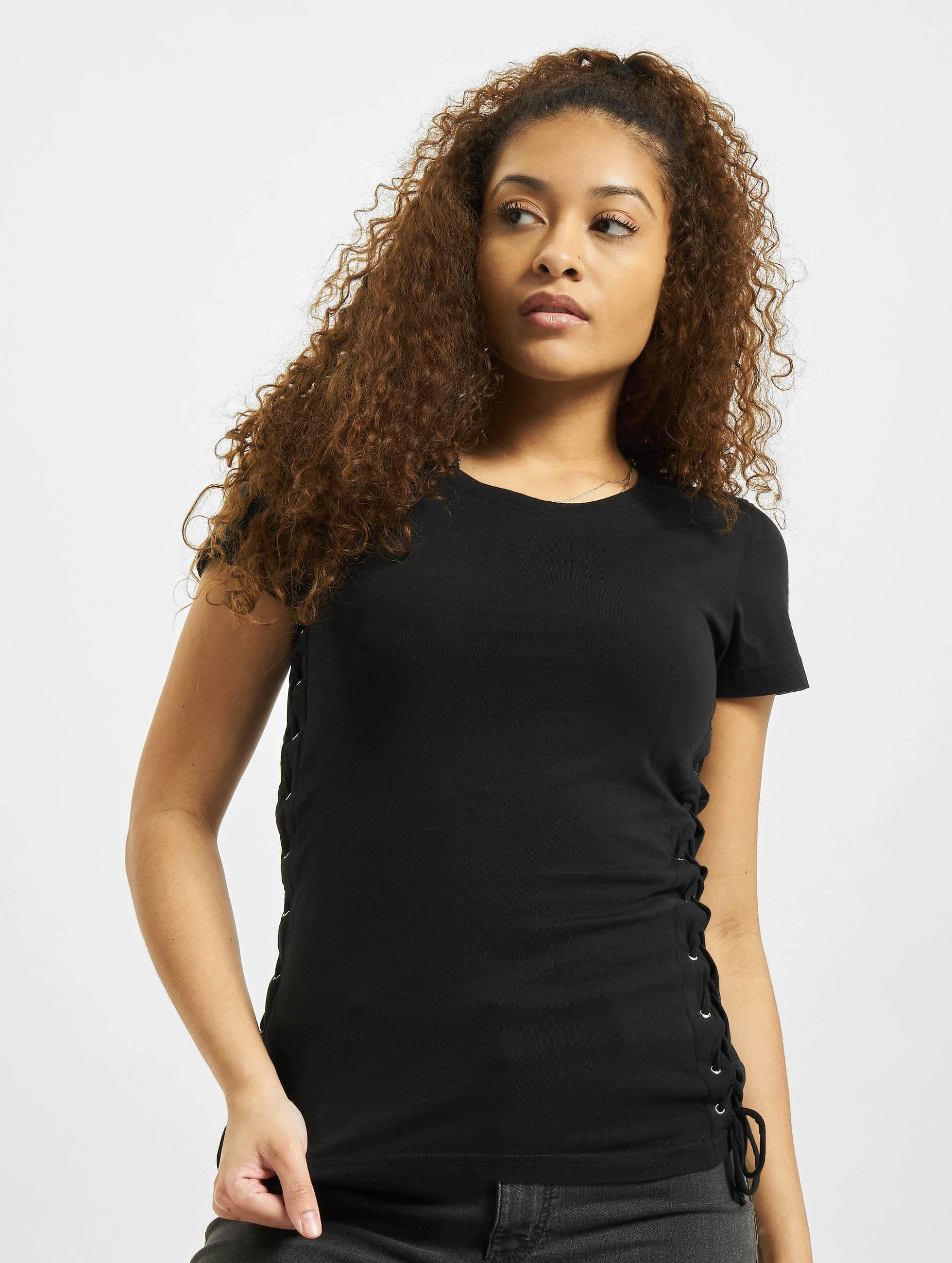 Urban Classics Frauen T-Shirt Washed Laced Up in schwarz
